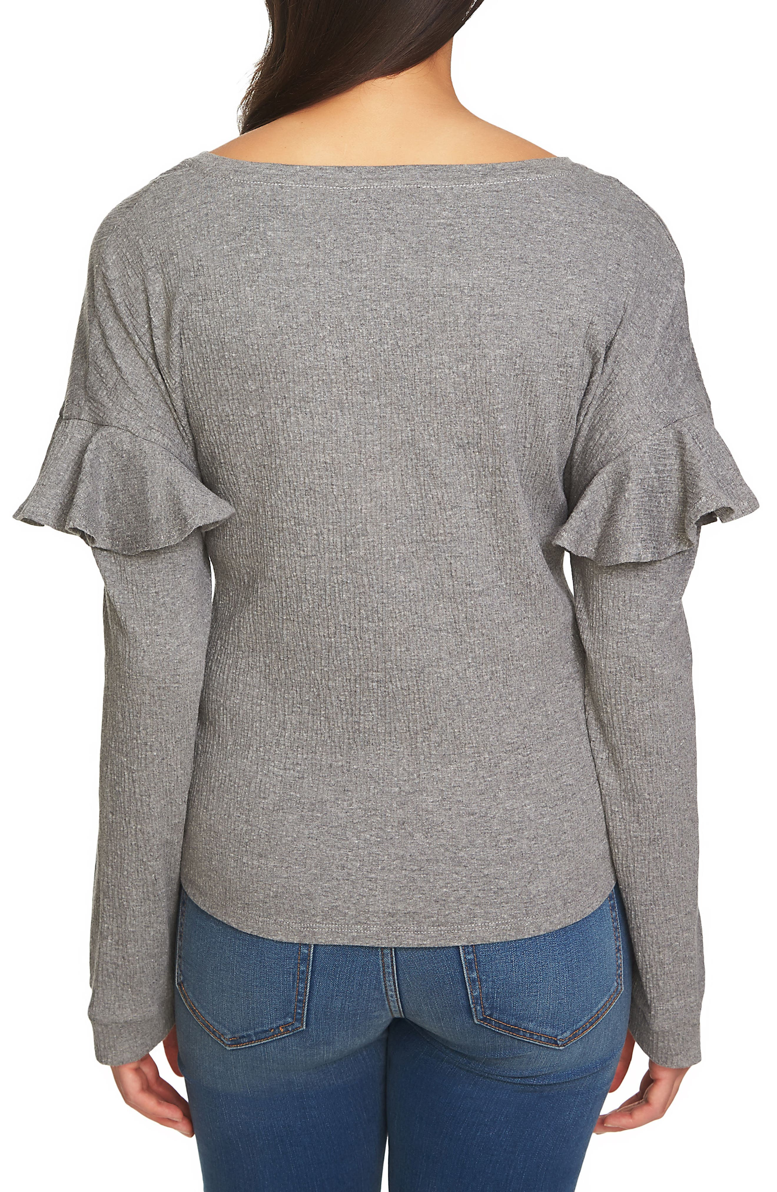 Tie Front Knit Top,                             Alternate thumbnail 2, color,                             Light Heather Grey