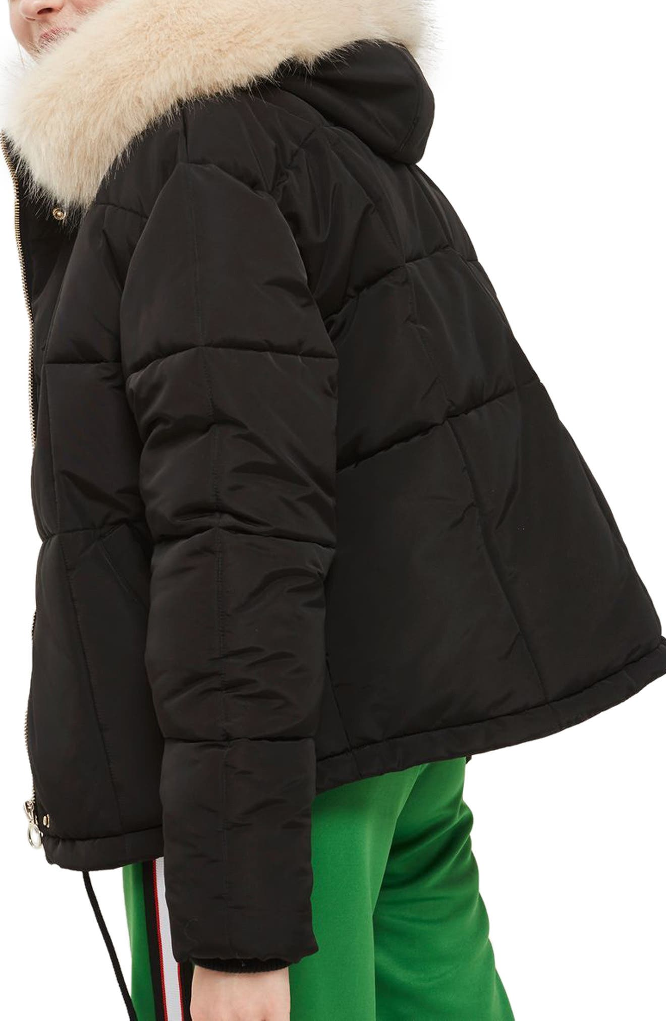 Faux Fur Lined Puffer Jacket,                             Alternate thumbnail 2, color,                             Black Multi