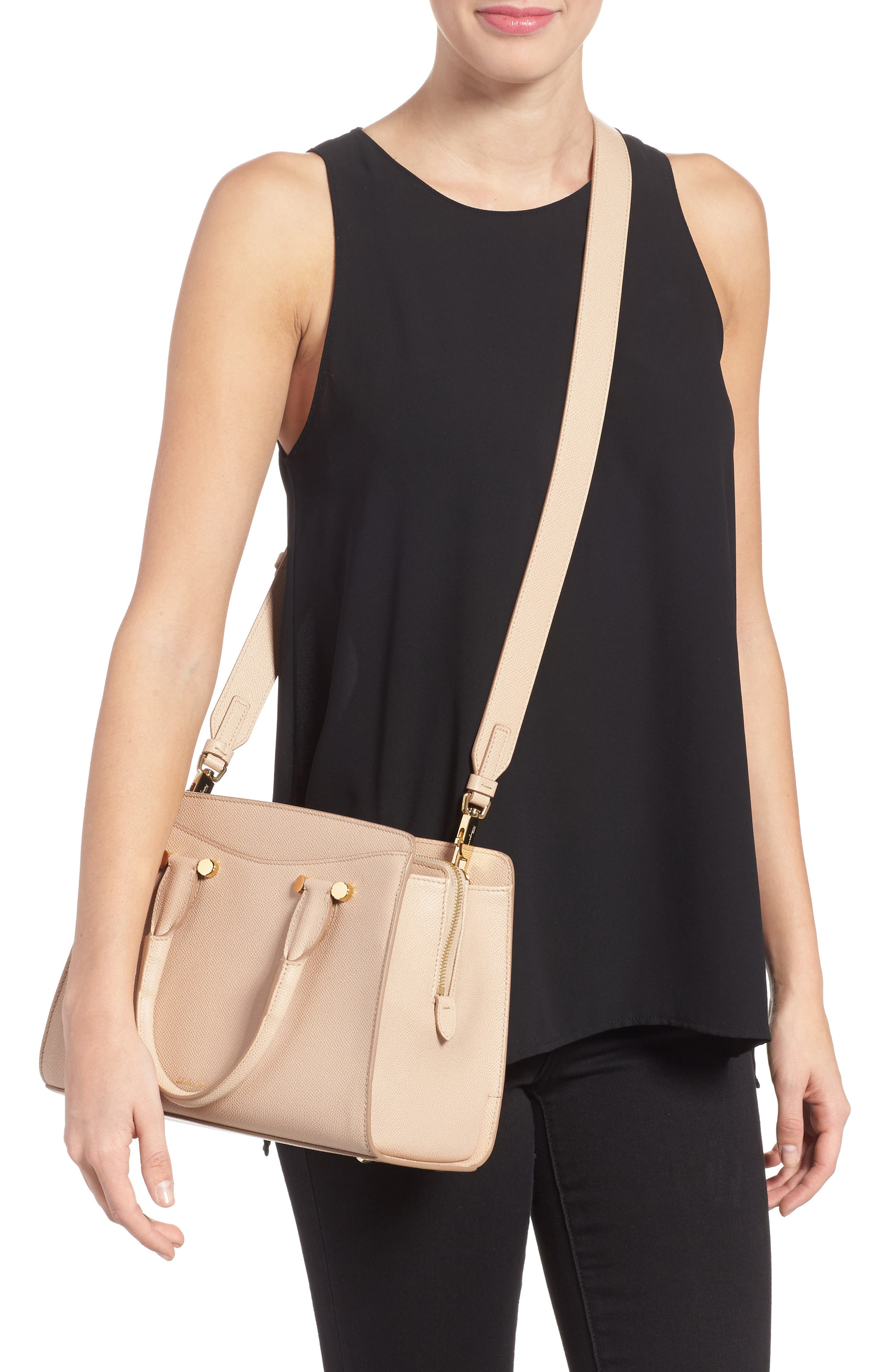 Small Today Leather Satchel,                             Alternate thumbnail 2, color,                             Almond/ Sable