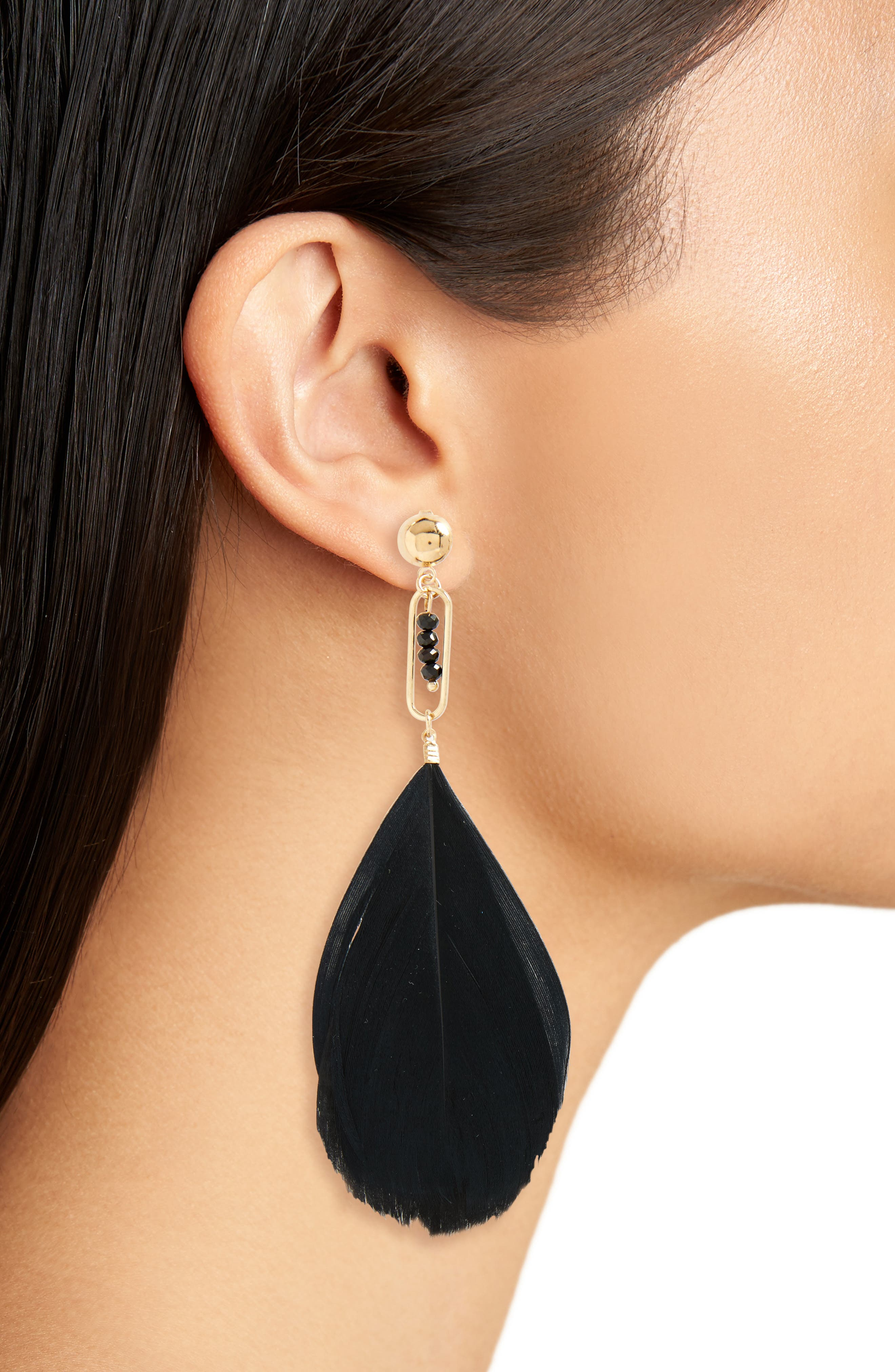Bead & Feather Drop Earrings,                             Alternate thumbnail 2, color,                             Black/ Gold