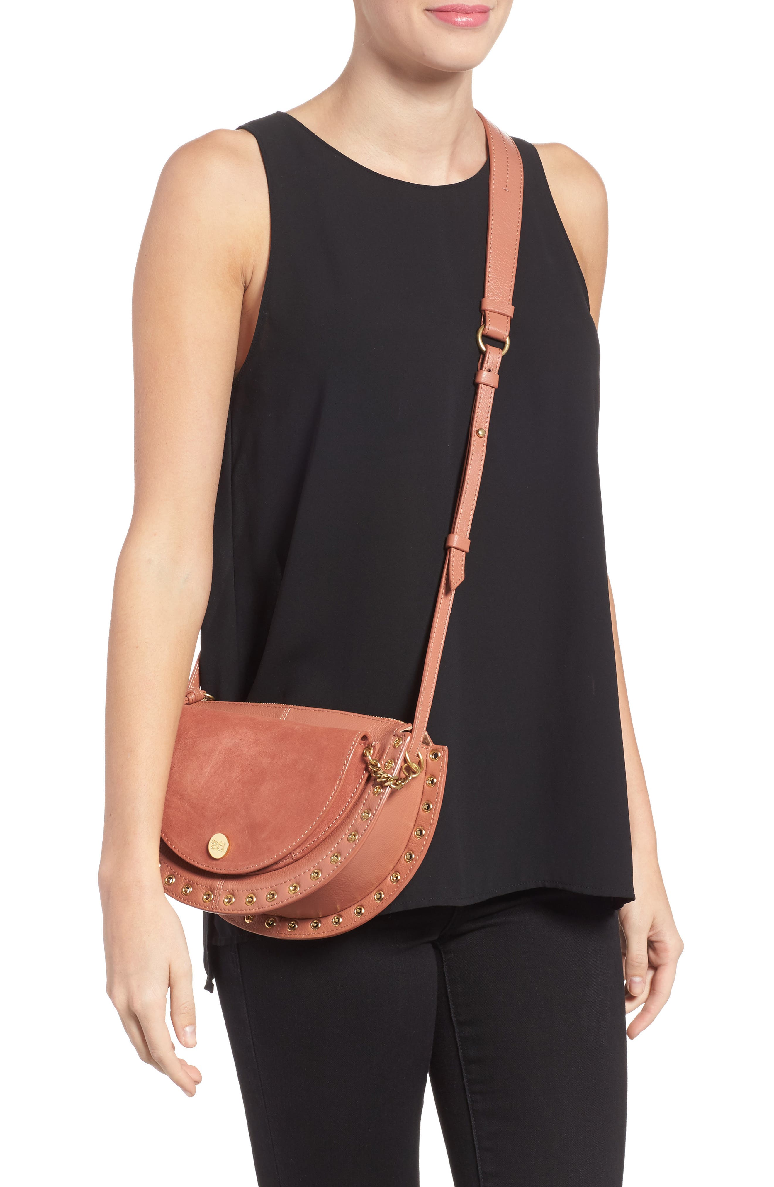 Kriss Leather & Suede Grommet Shoulder Bag,                             Alternate thumbnail 2, color,                             Cheek