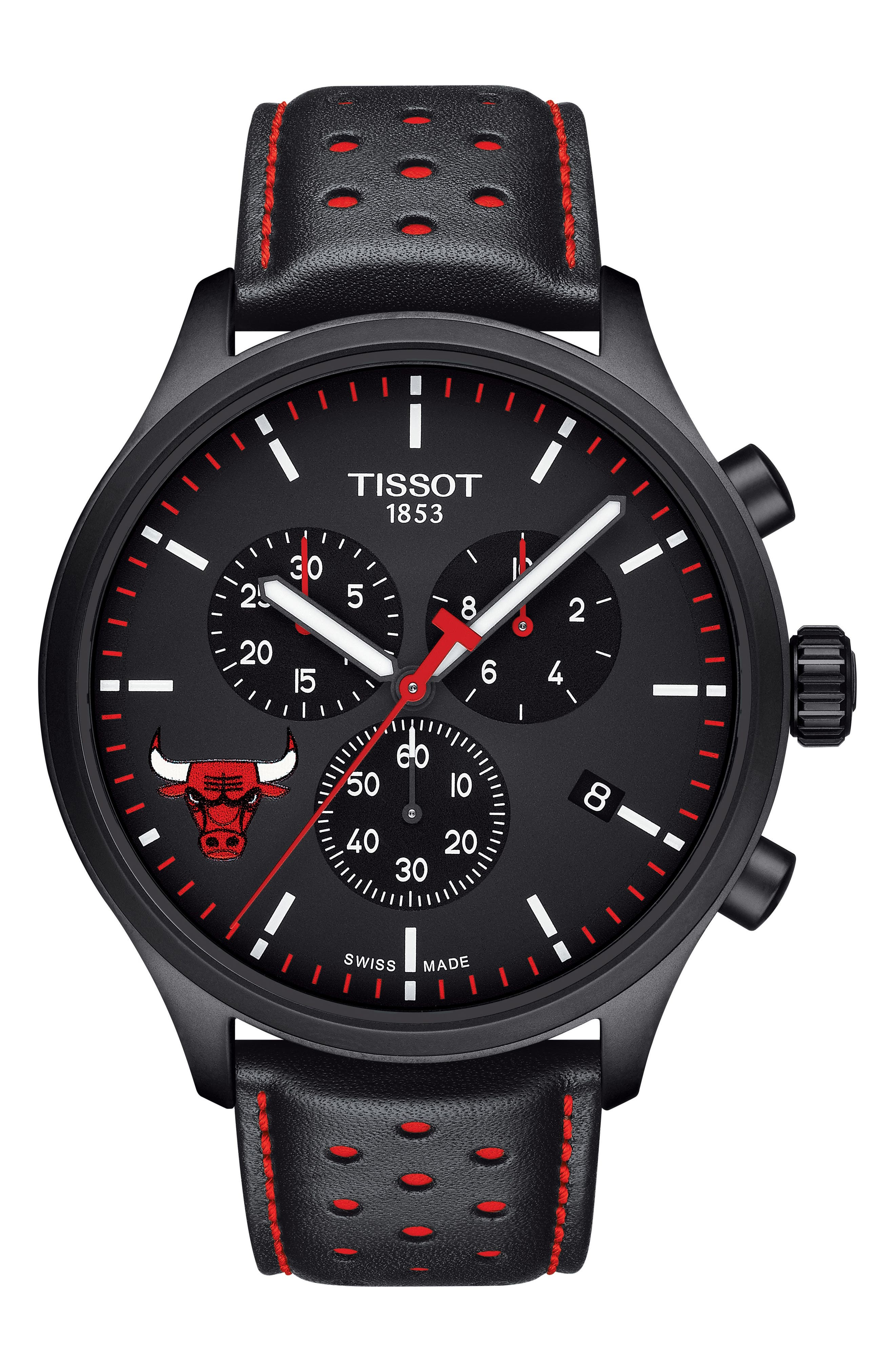Chrono XL NBA Leather Strap Watch, 45mm,                         Main,                         color, Black/ Red