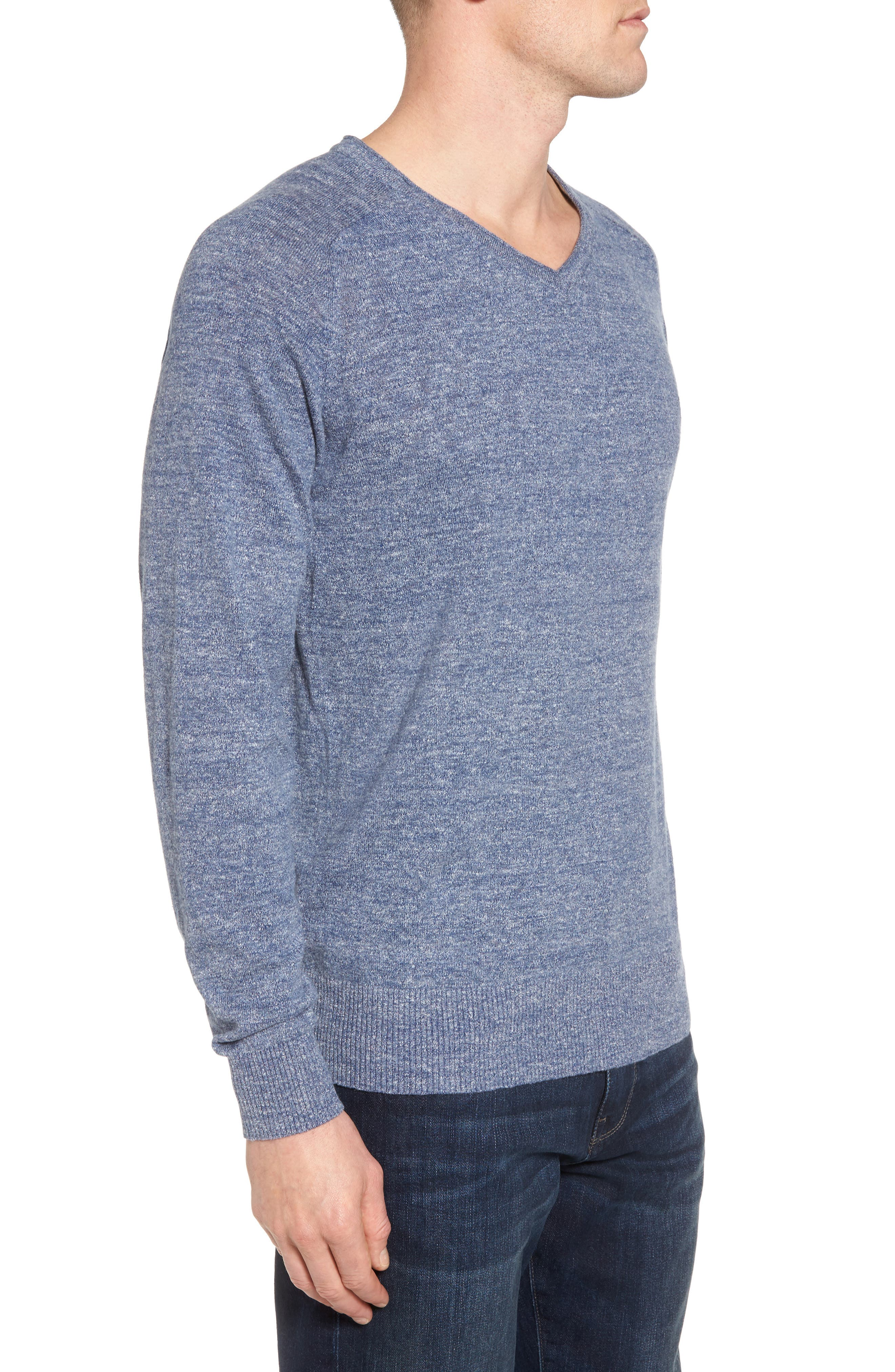Arbors Cotton V-Neck Sweater,                             Alternate thumbnail 3, color,                             Riviera
