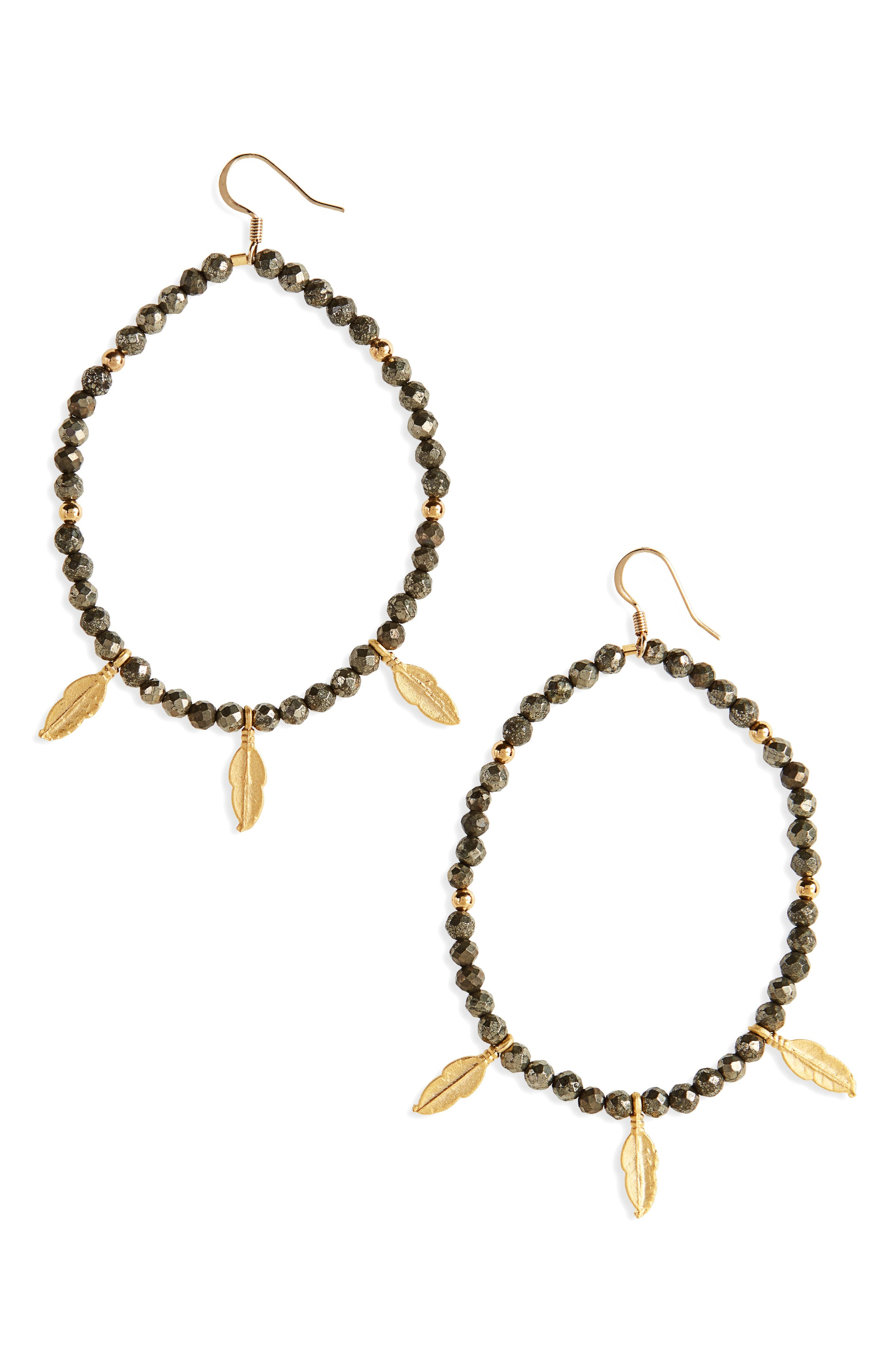 Love's Affect Blayne Semiprecious Leaf Drop Earrings,                         Main,                         color, Grey
