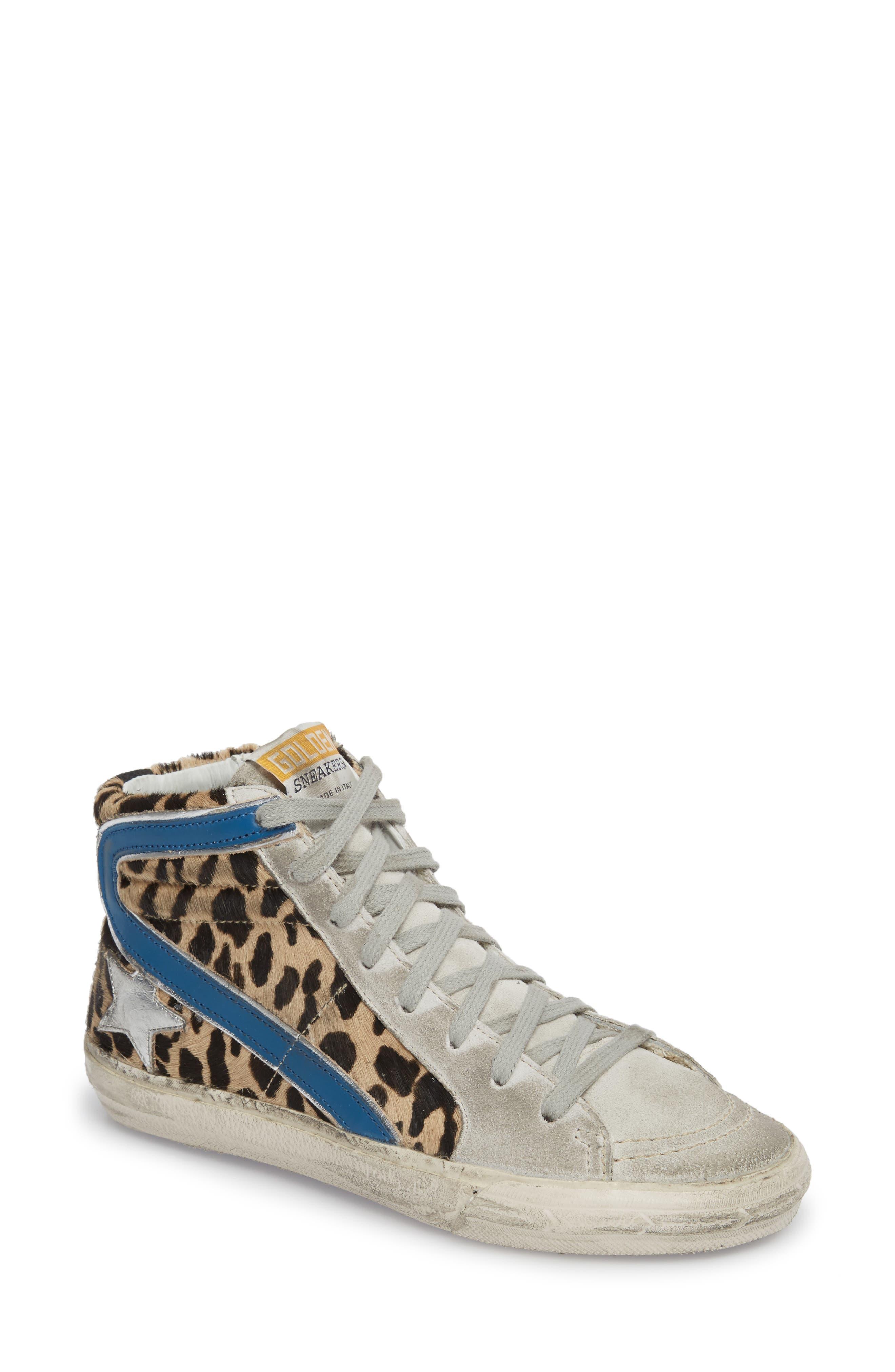 Golden Goose Women's Slide Genuine Calf Hair High Top Sneaker VfTVc2