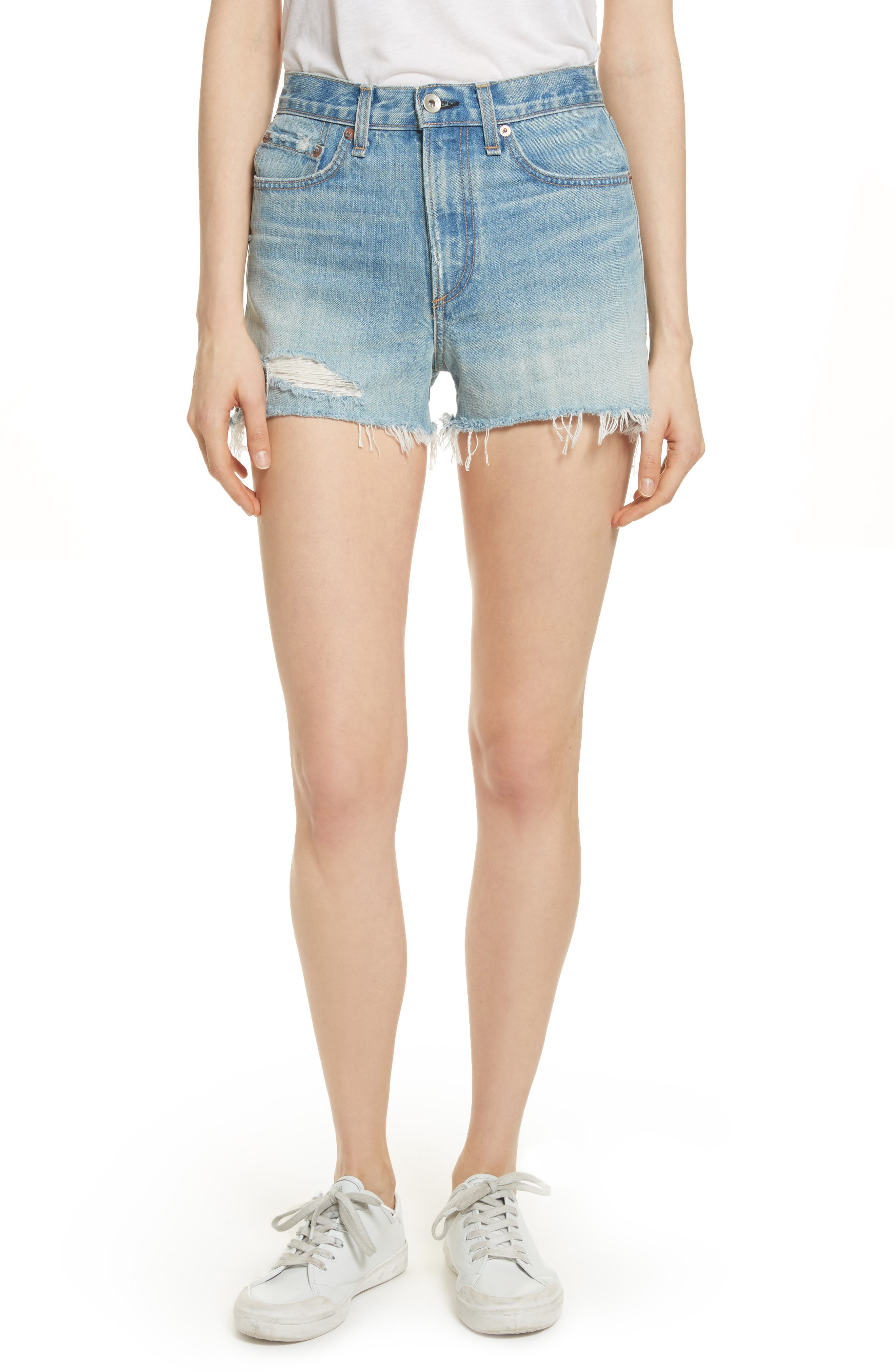 Justine High Waist Cutoff Denim Shorts,                         Main,                         color, Duffs