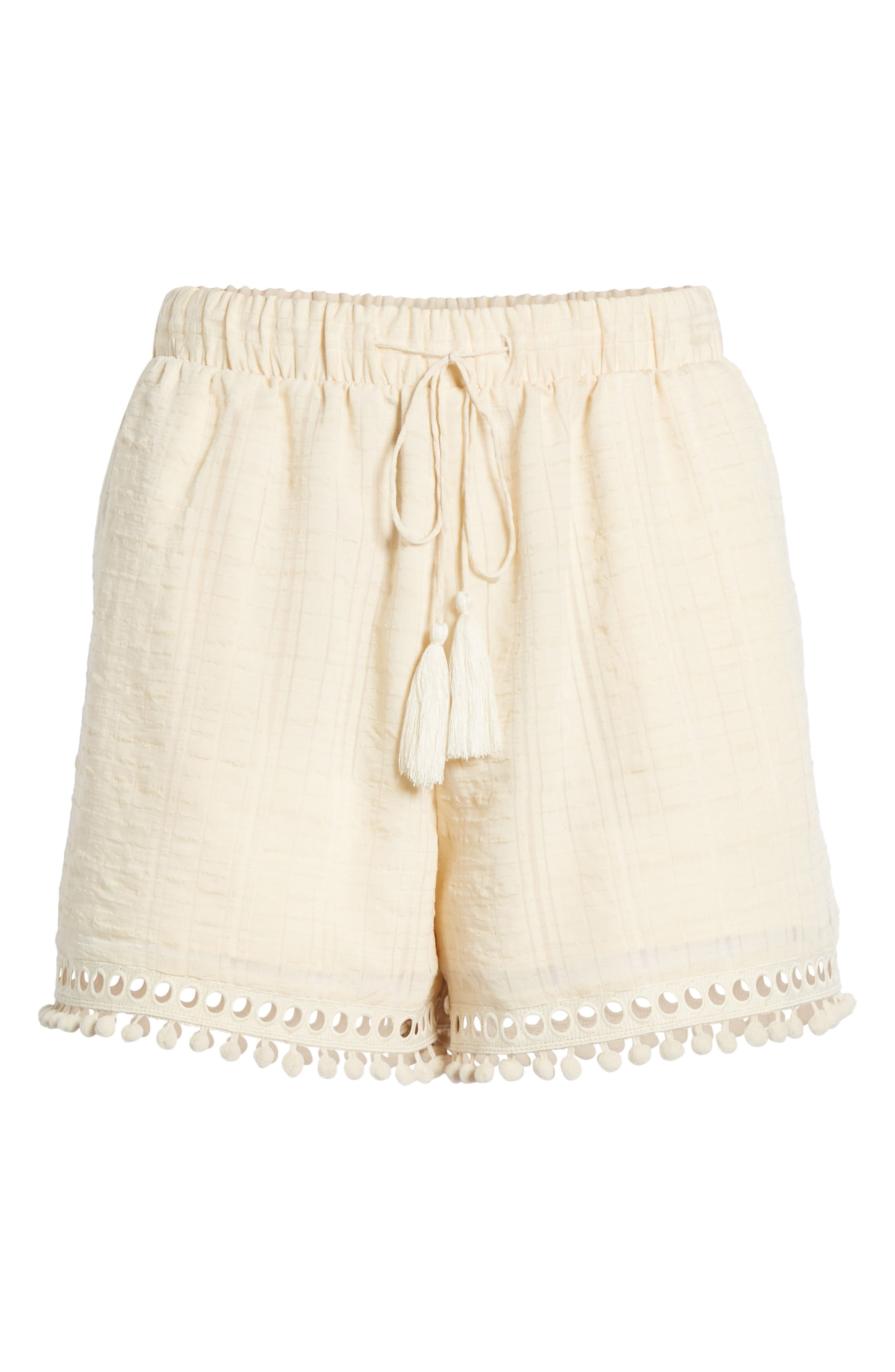 Pompom Trim Shorts,                             Alternate thumbnail 7, color,                             Light Peach