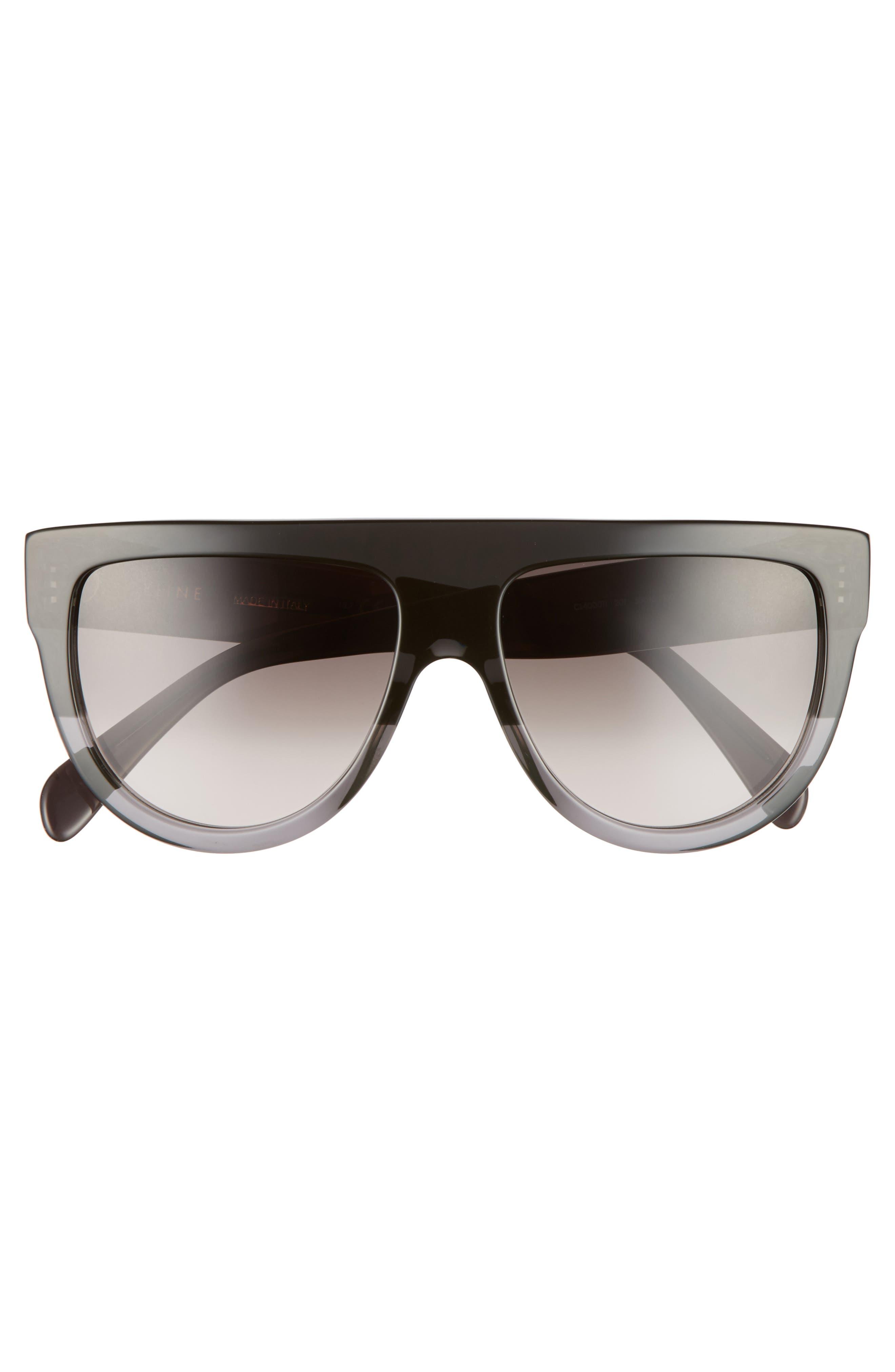 Flat Top Sunglasses,                             Alternate thumbnail 3, color,                             Dark Grey/ Brown