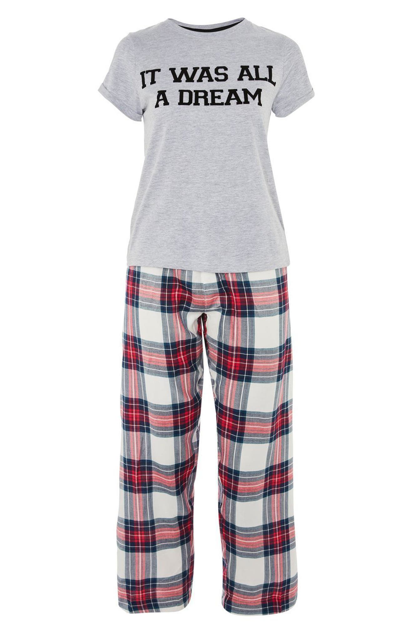 It Was All a Dream Pajamas,                             Alternate thumbnail 3, color,                             Red Multi
