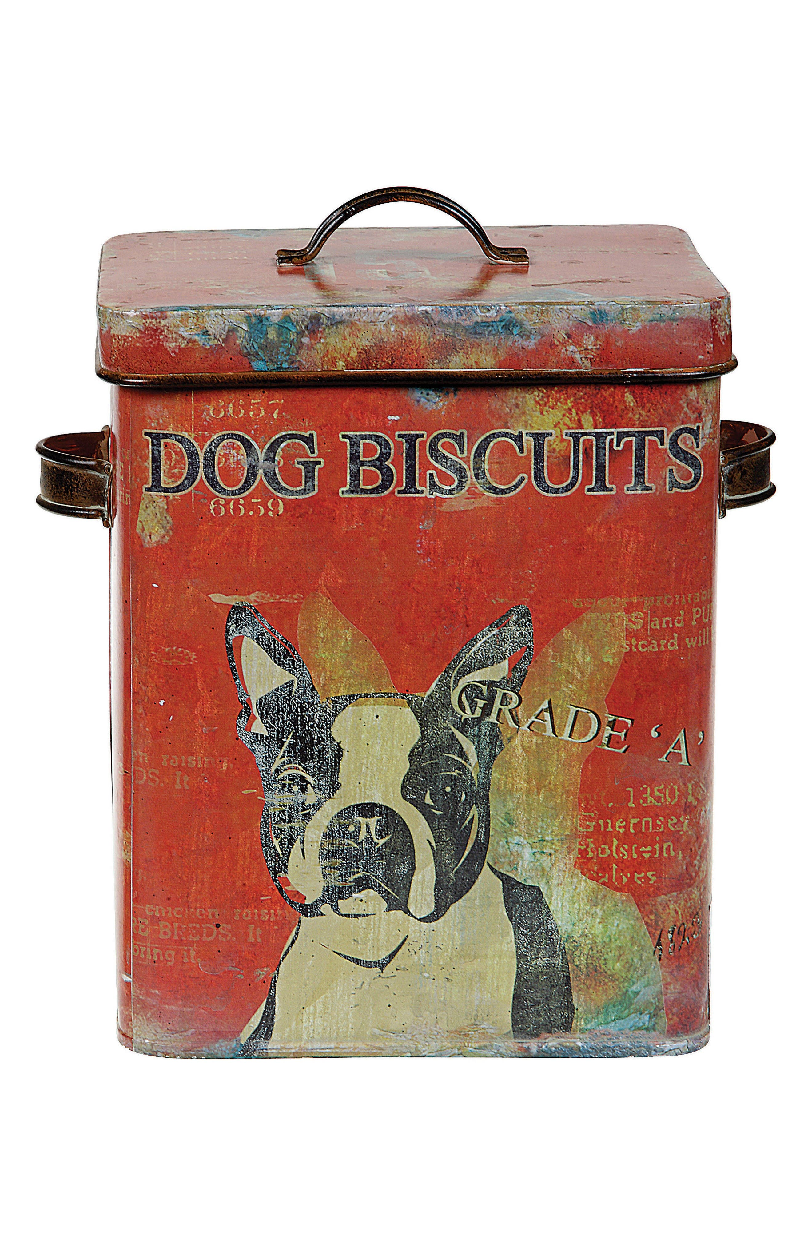 Dog Biscuit Tin,                         Main,                         color, Red