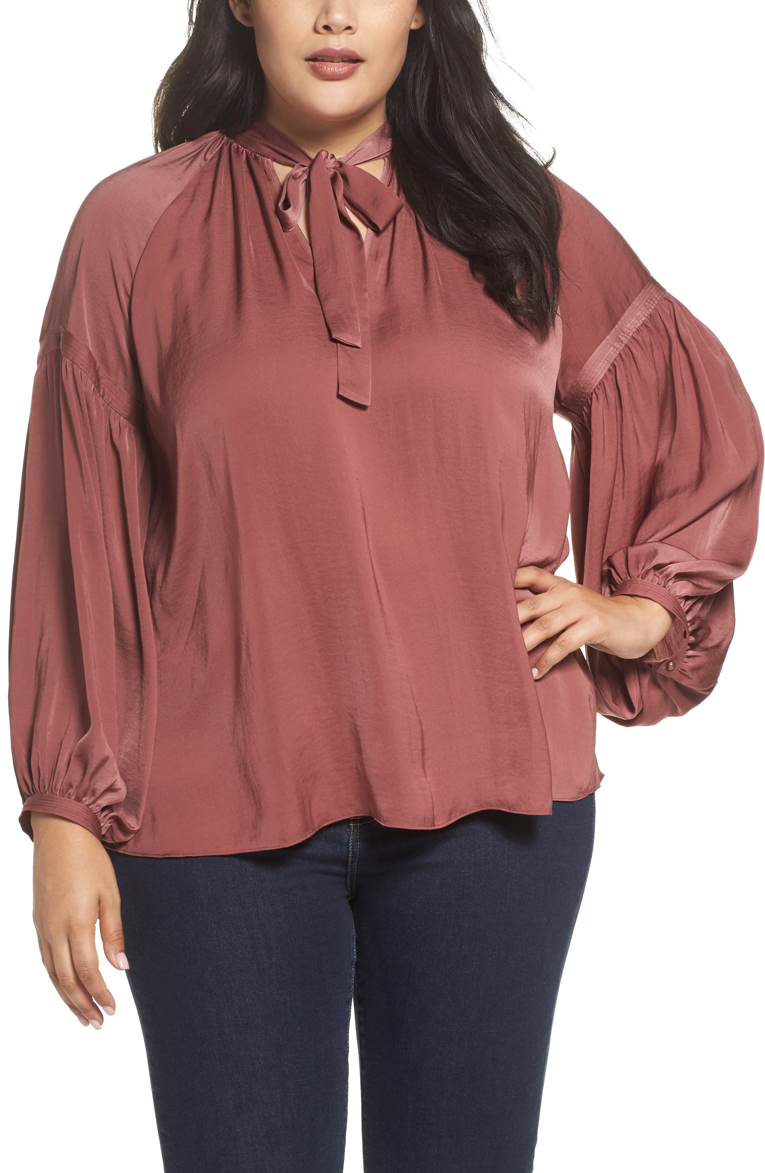 Alternate Image 1 Selected - Lucky Brand Jenna Peasant Top (Plus Size)