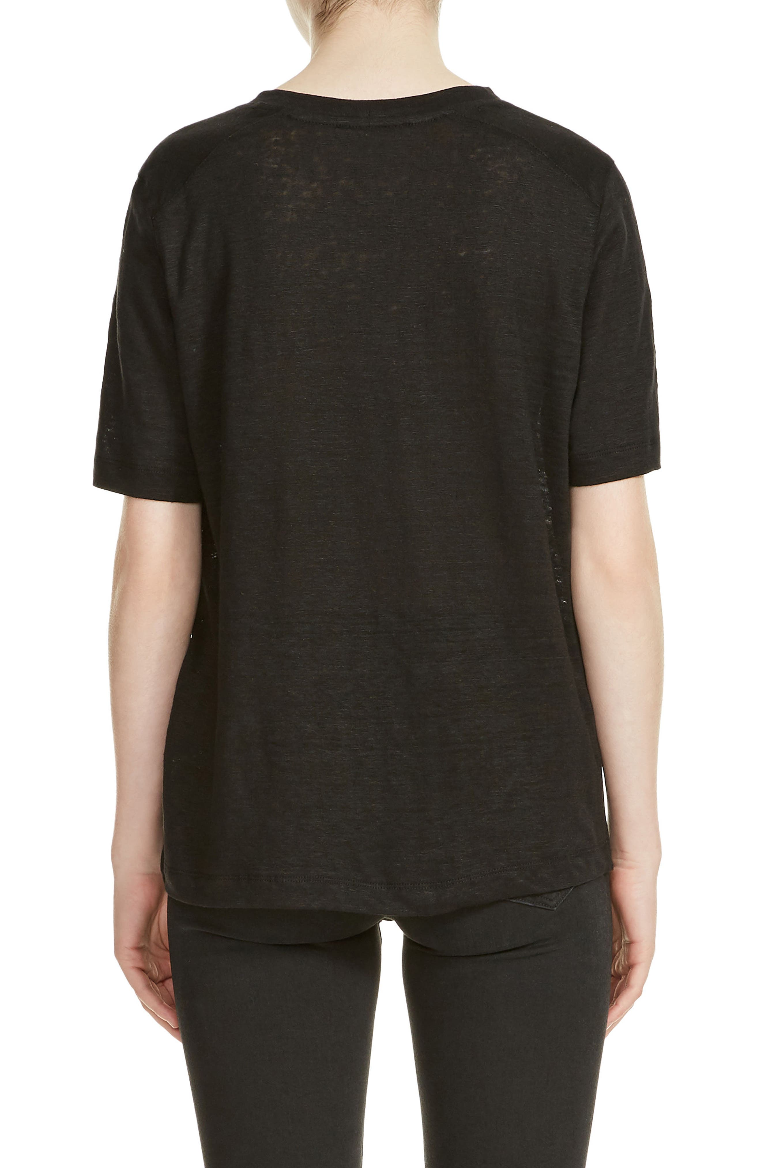 Tina Embroidery Tee,                             Alternate thumbnail 2, color,                             Black 210