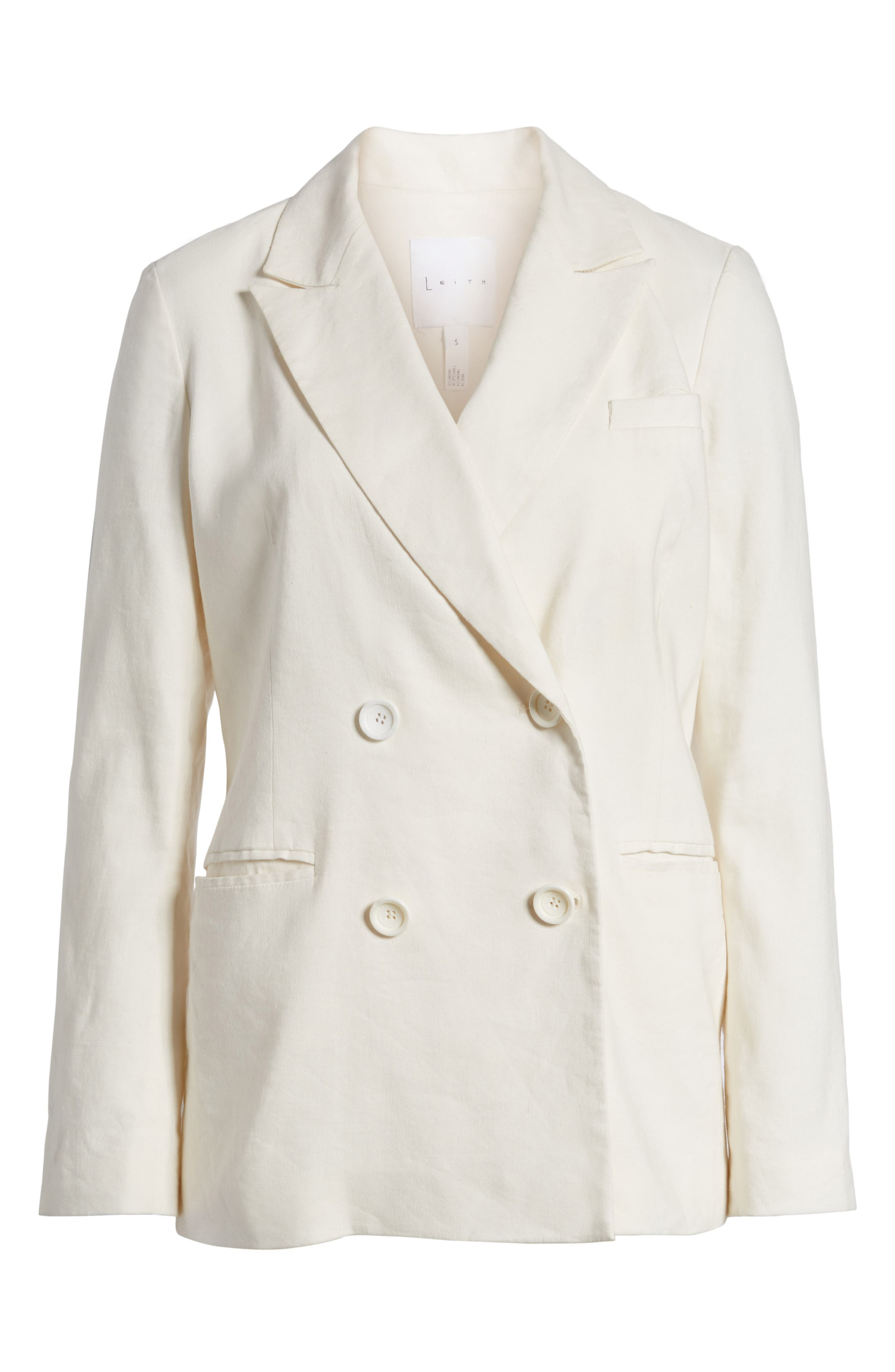 Double Breasted Linen Blend Blazer,                             Alternate thumbnail 7, color,                             Ivory