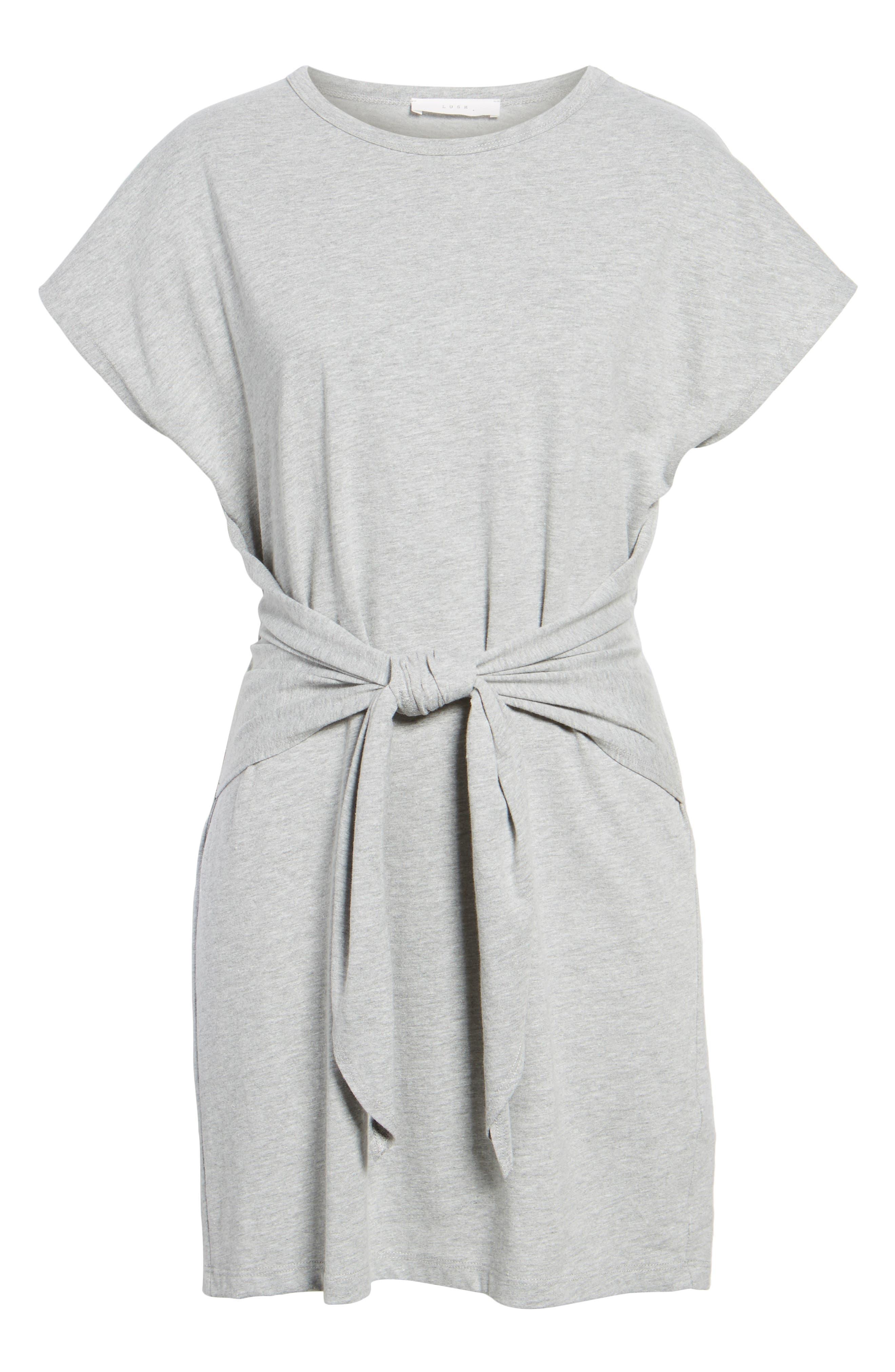 Tie Waist T-Shirt Dress,                             Alternate thumbnail 6, color,                             Heather Grey