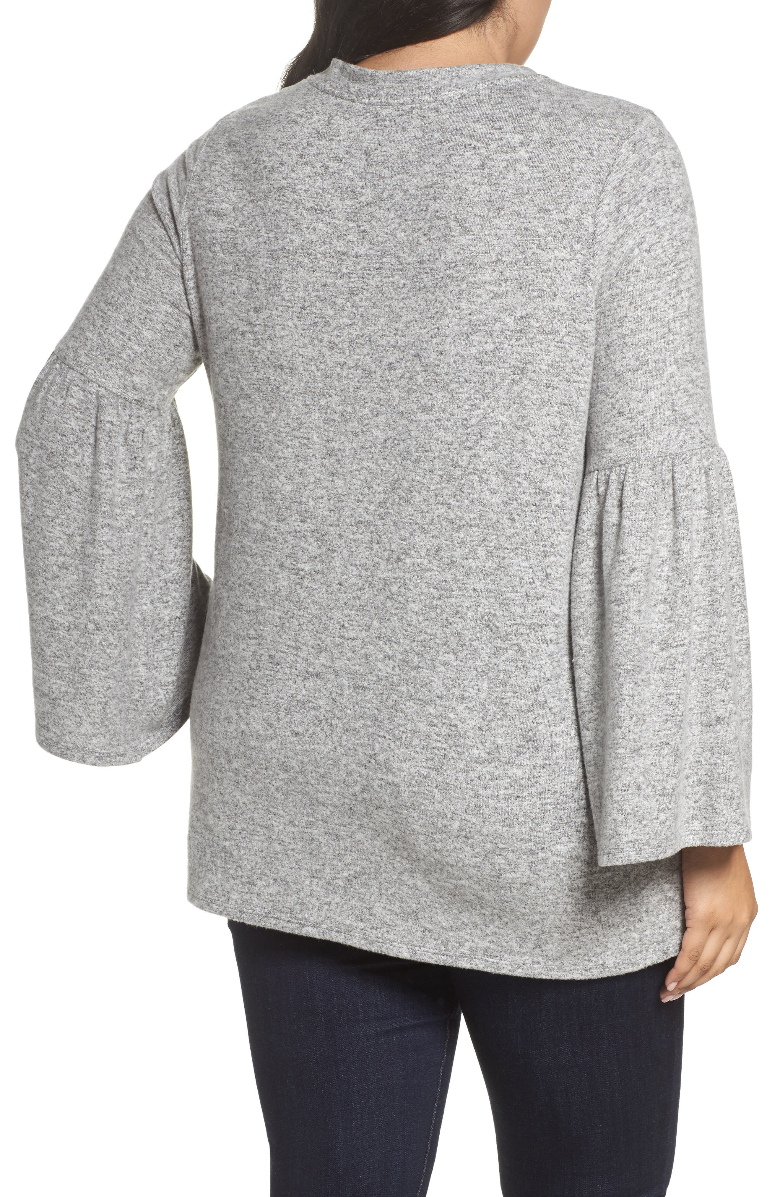 Alternate Image 2  - Gibson Bell Sleeve Cozy Fleece Pullover (Plus Size)