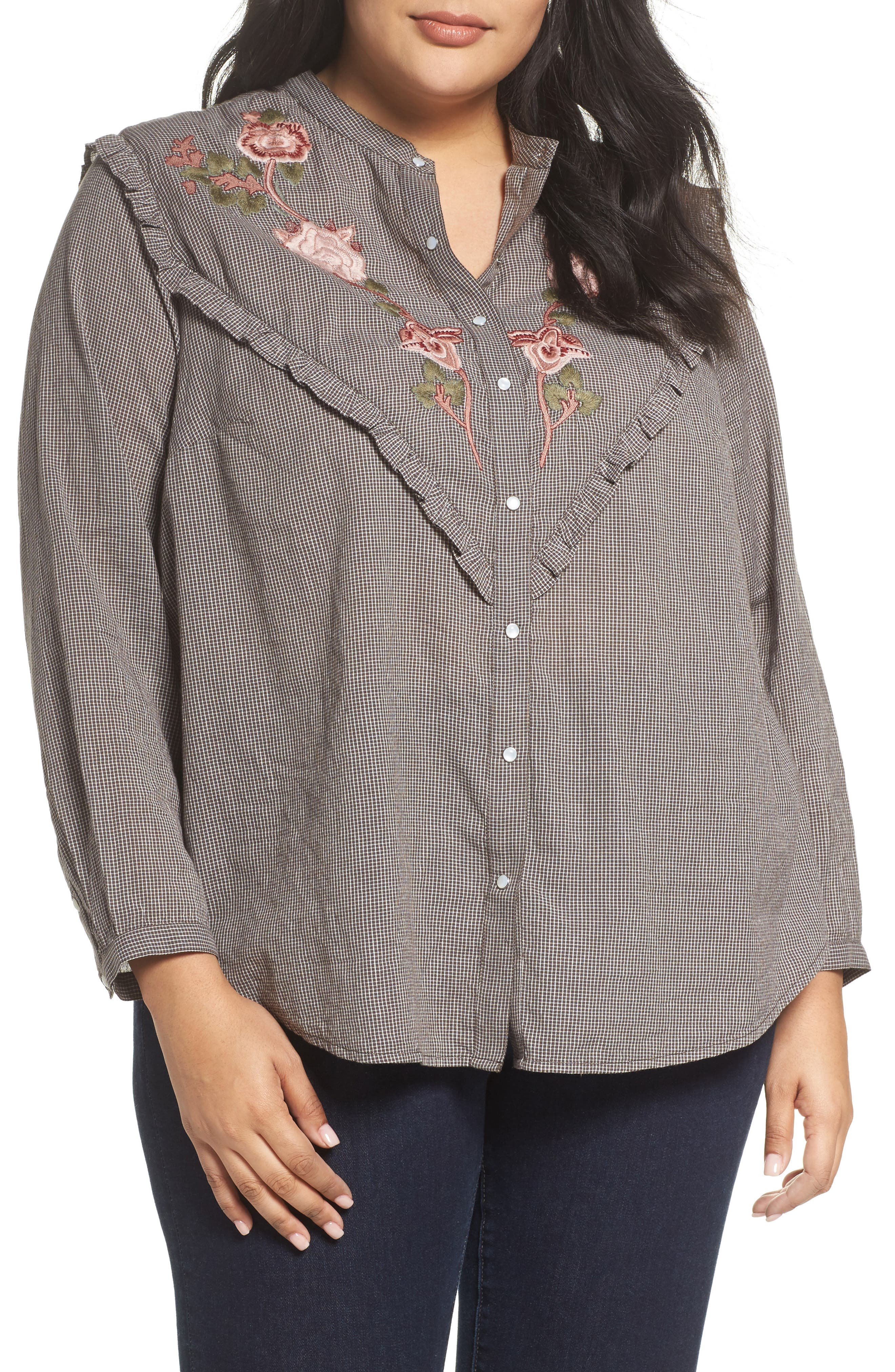 Alternate Image 1 Selected - Lucky Brand Embroidered Western Shirt (Plus Size)