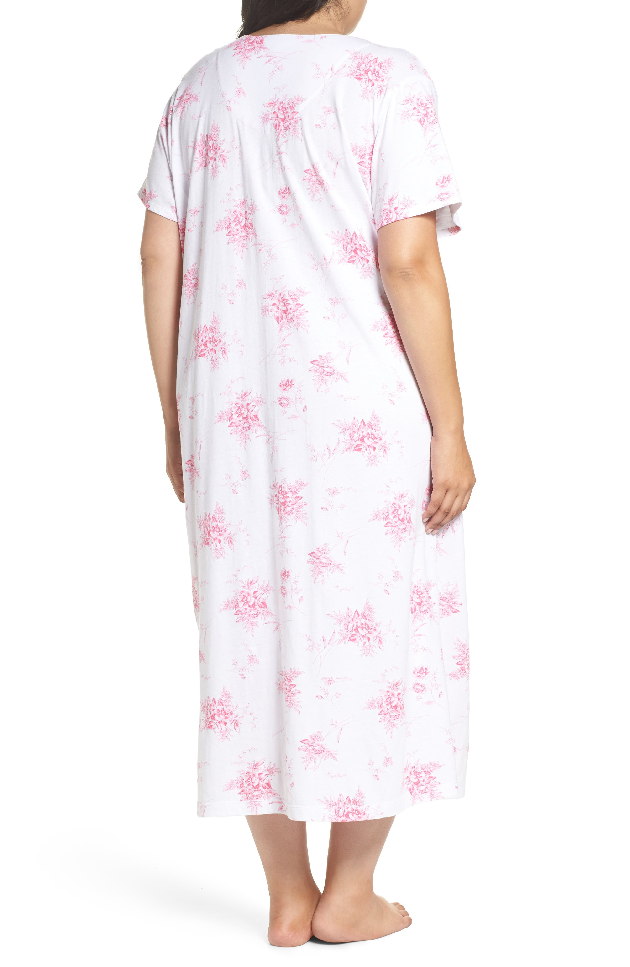 Cotton Jersey Long Nightgown,                             Alternate thumbnail 2, color,                             Bouquet Swing