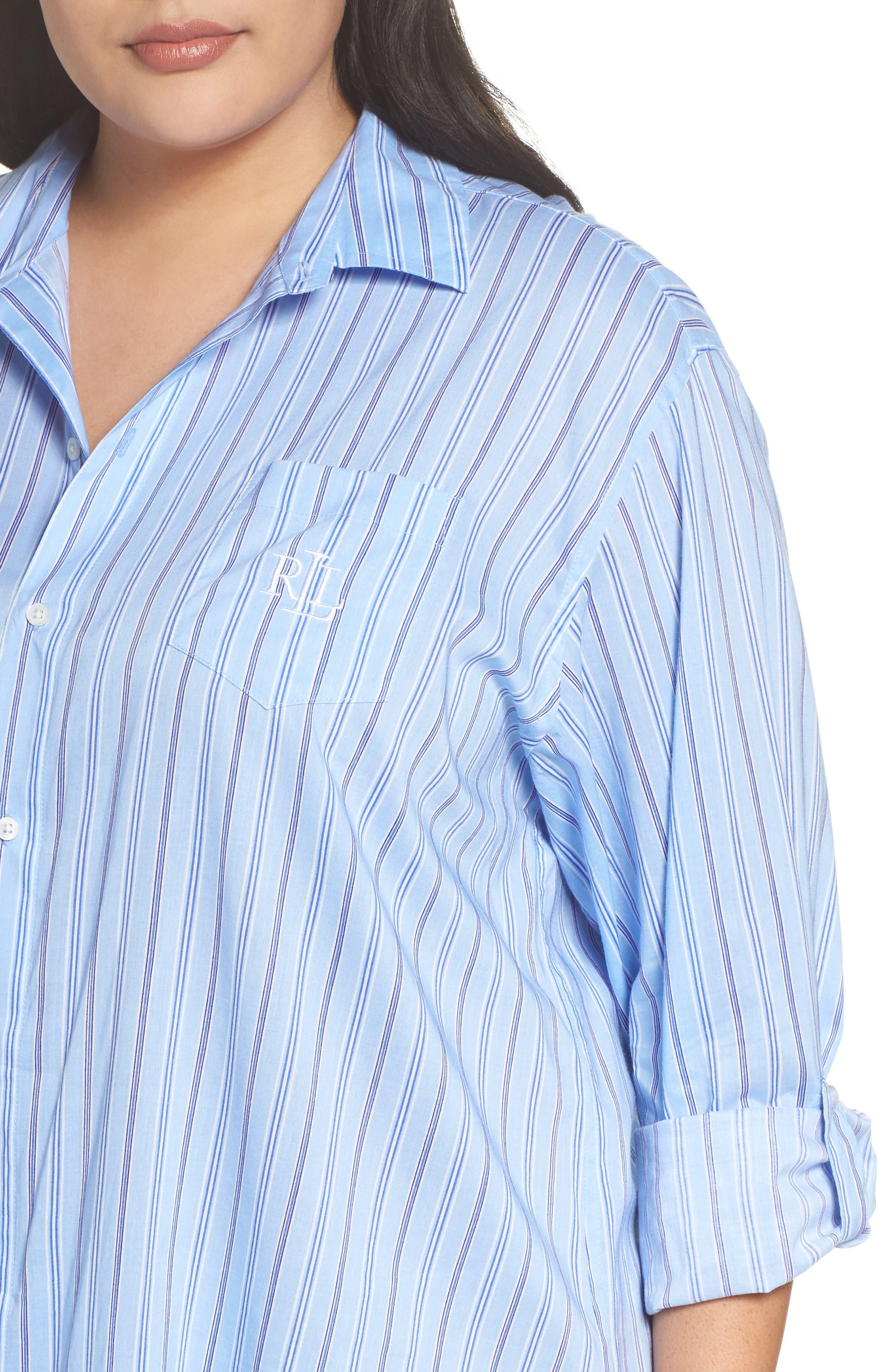 Night Shirt,                             Alternate thumbnail 5, color,                             Blue Stripe