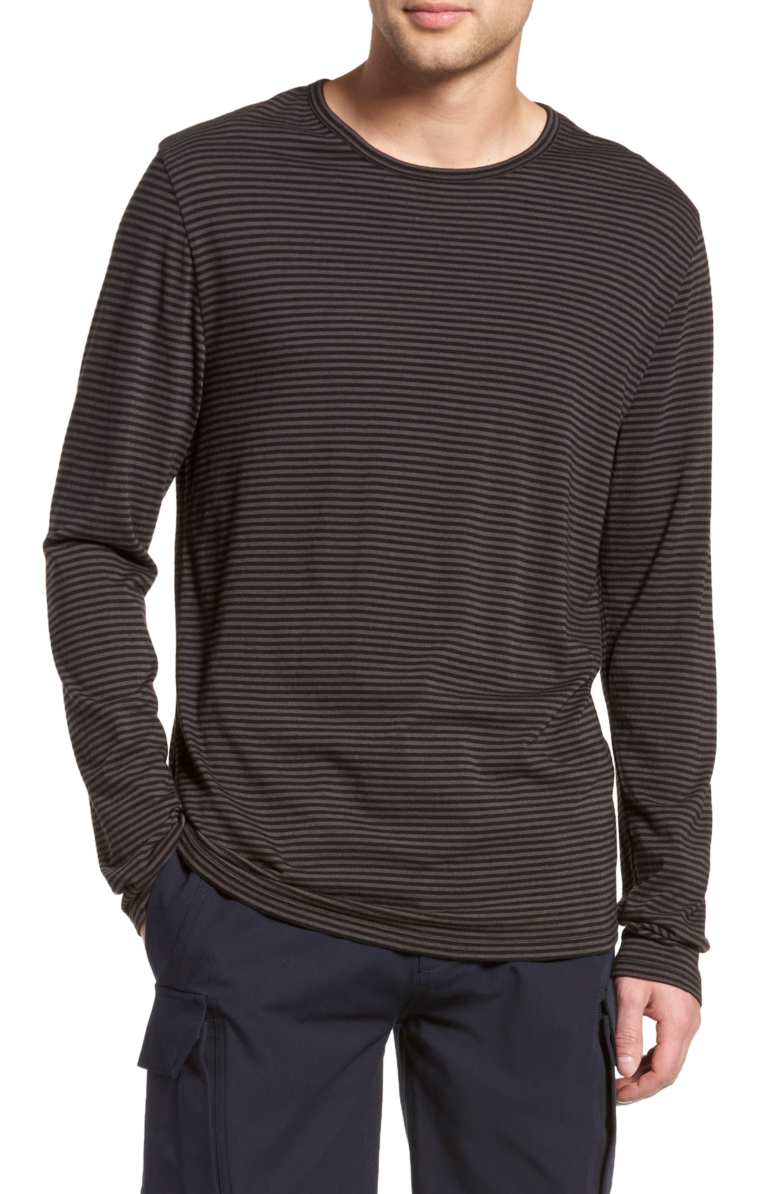 Feeder Stripe Long Sleeve Shirt,                         Main,                         color, Black/ Stone Grey