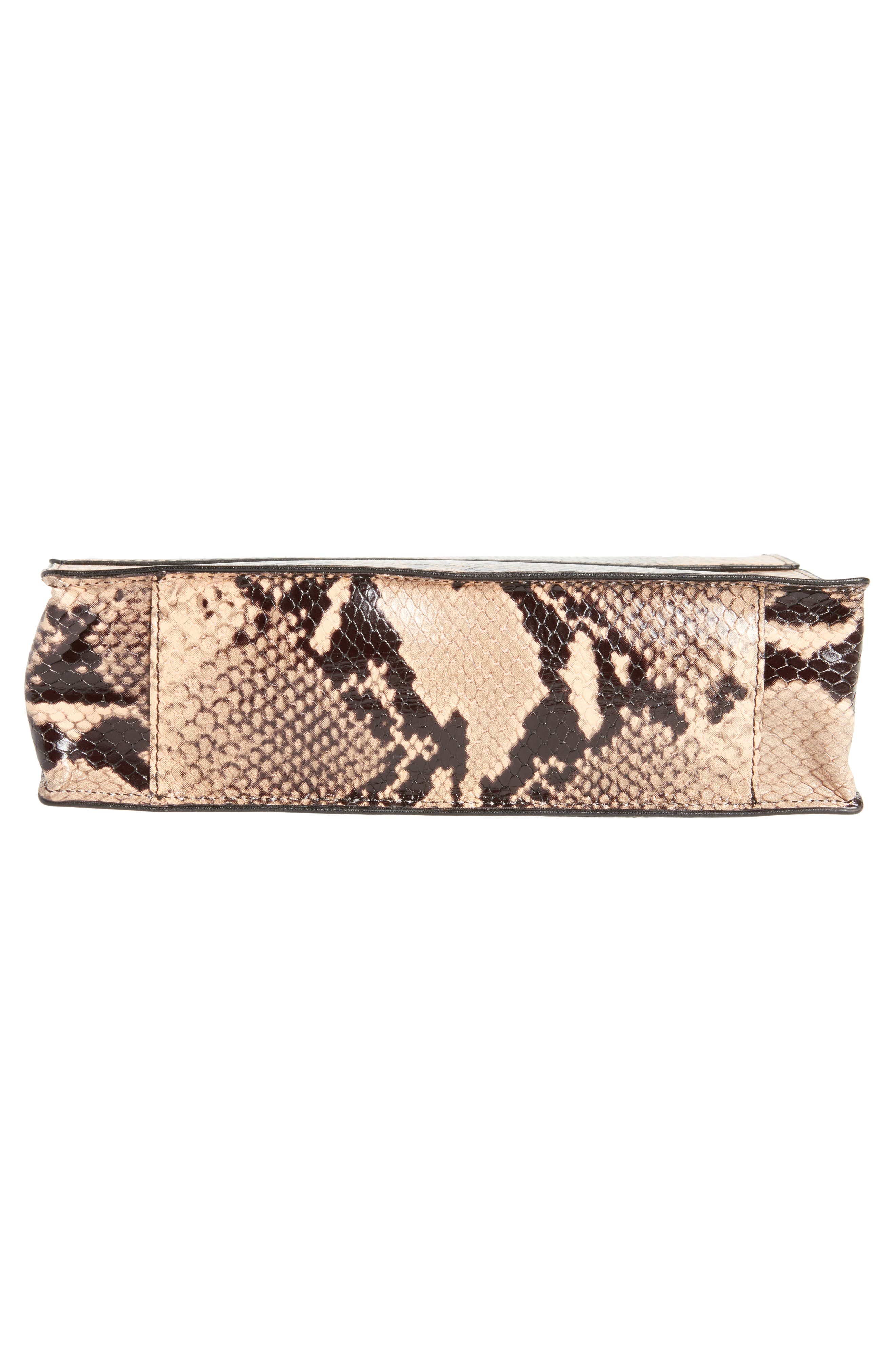 Snake Embossed Leather Wristlet Clutch,                             Alternate thumbnail 6, color,                             Camel