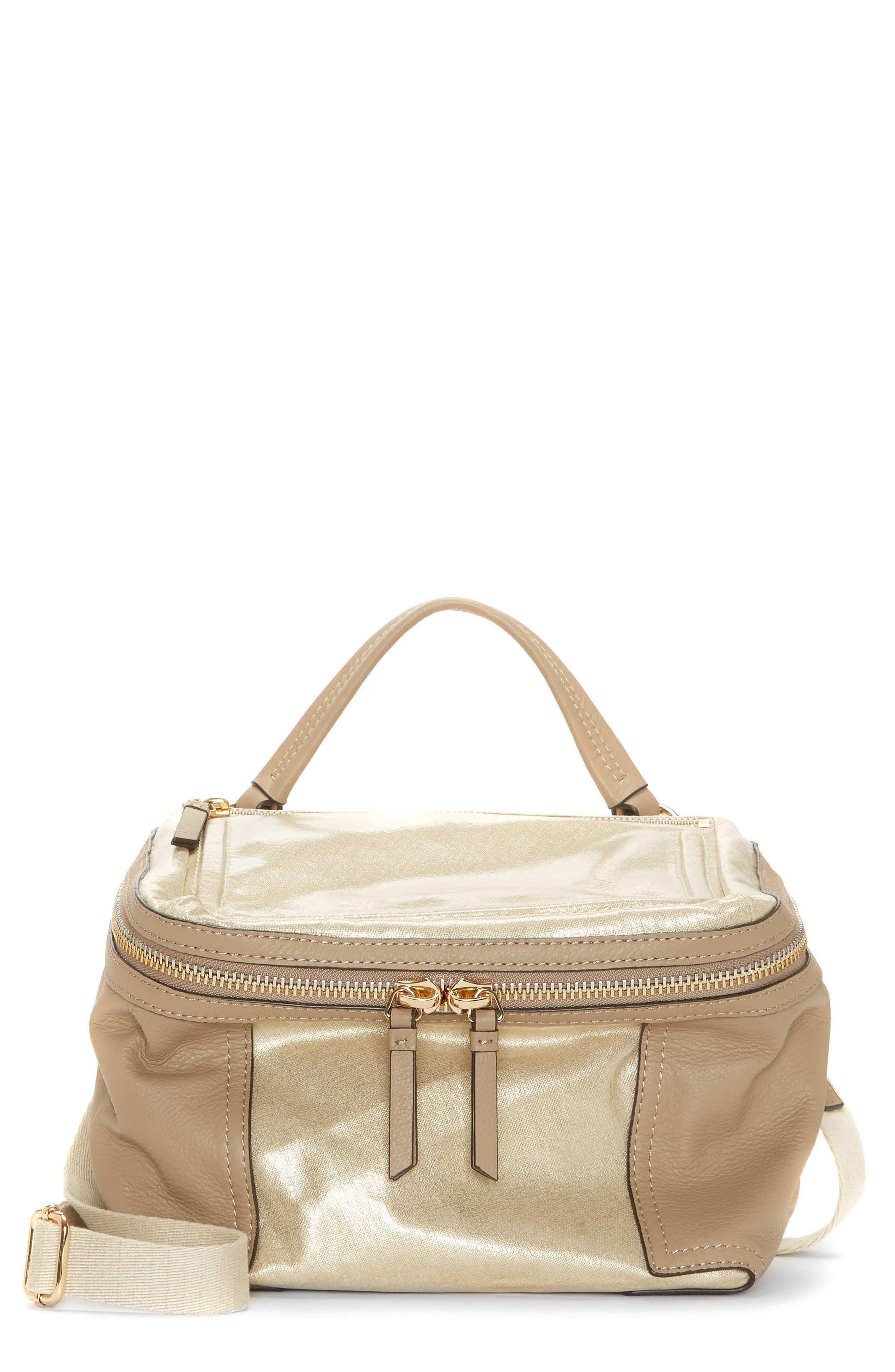Medium Patch Nylon & Leather Crossbody Bag,                             Main thumbnail 1, color,                             Gold