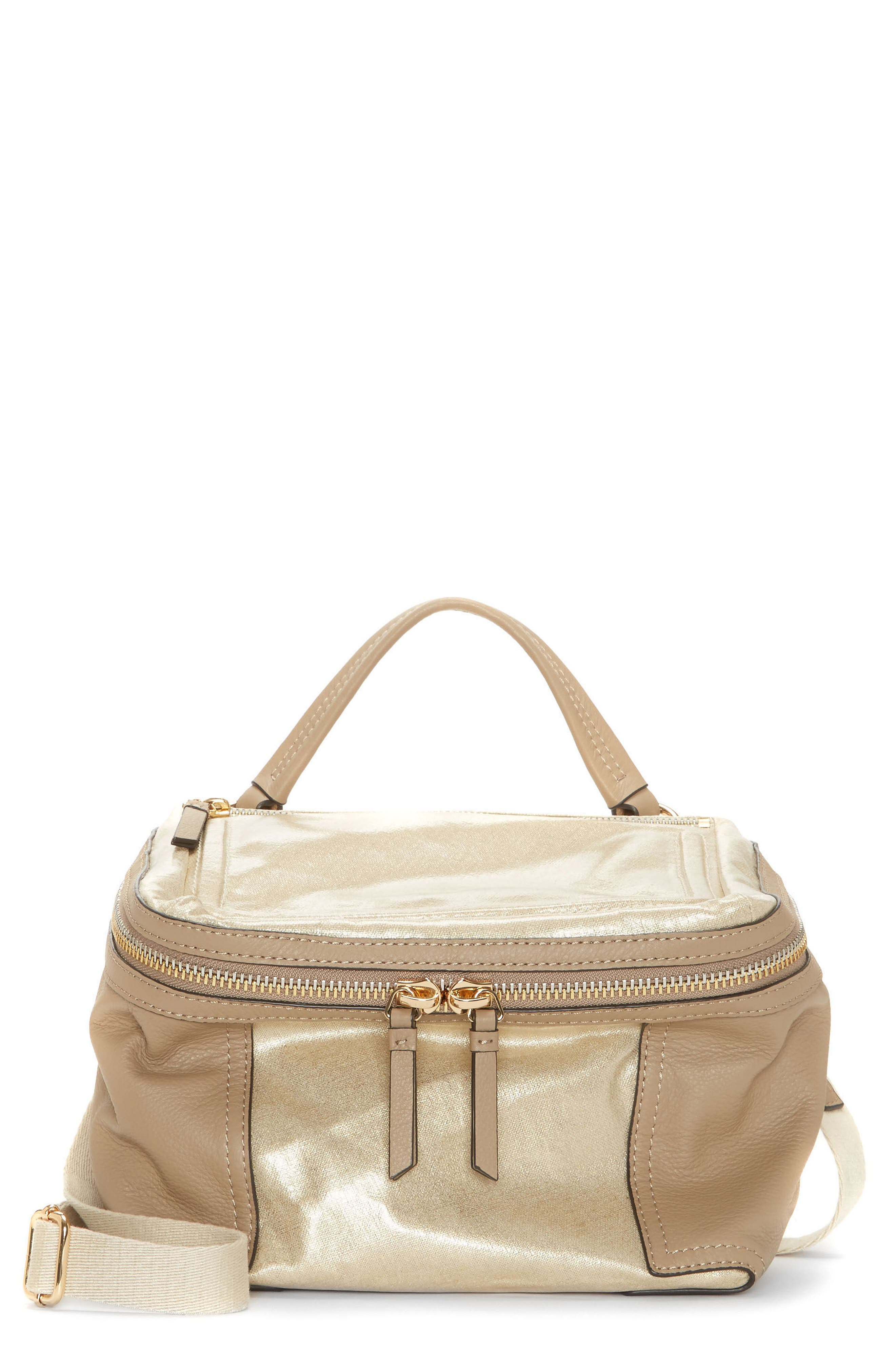 Medium Patch Nylon & Leather Crossbody Bag,                         Main,                         color, Gold