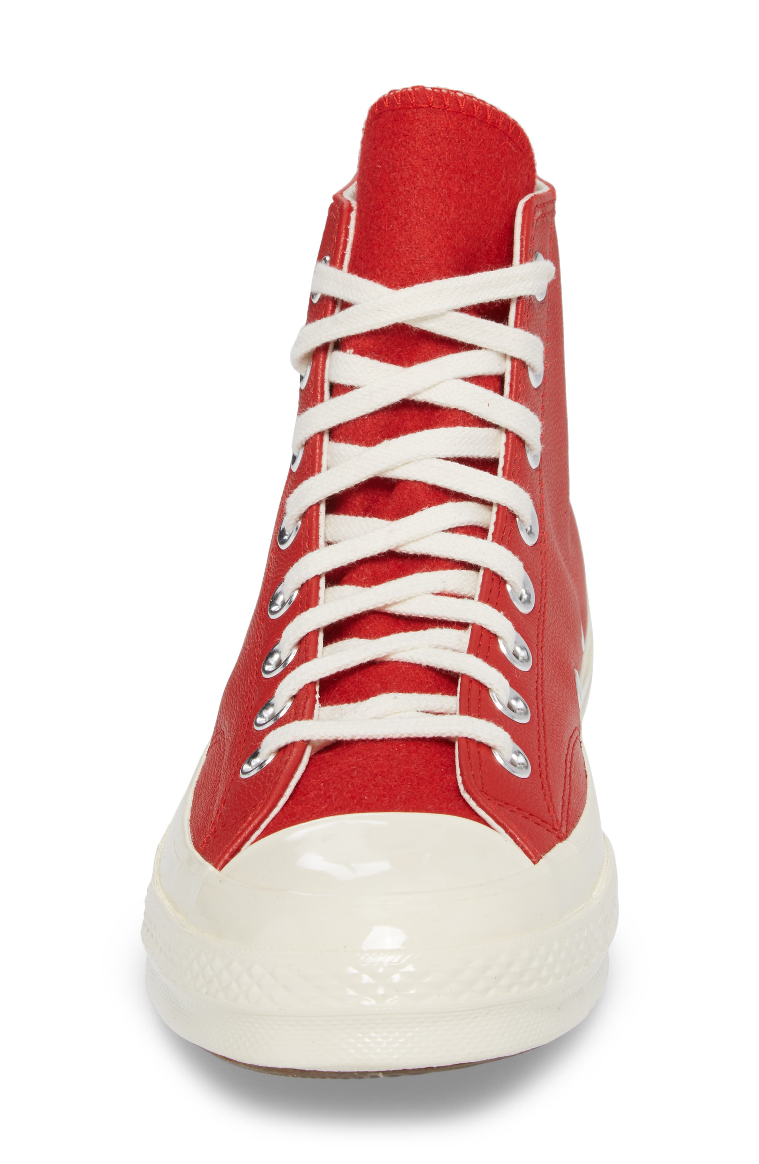 Chuck Taylor<sup>®</sup> All Star<sup>®</sup> Wordmark High Top Sneaker,                             Alternate thumbnail 4, color,                             Enamel Red Leather