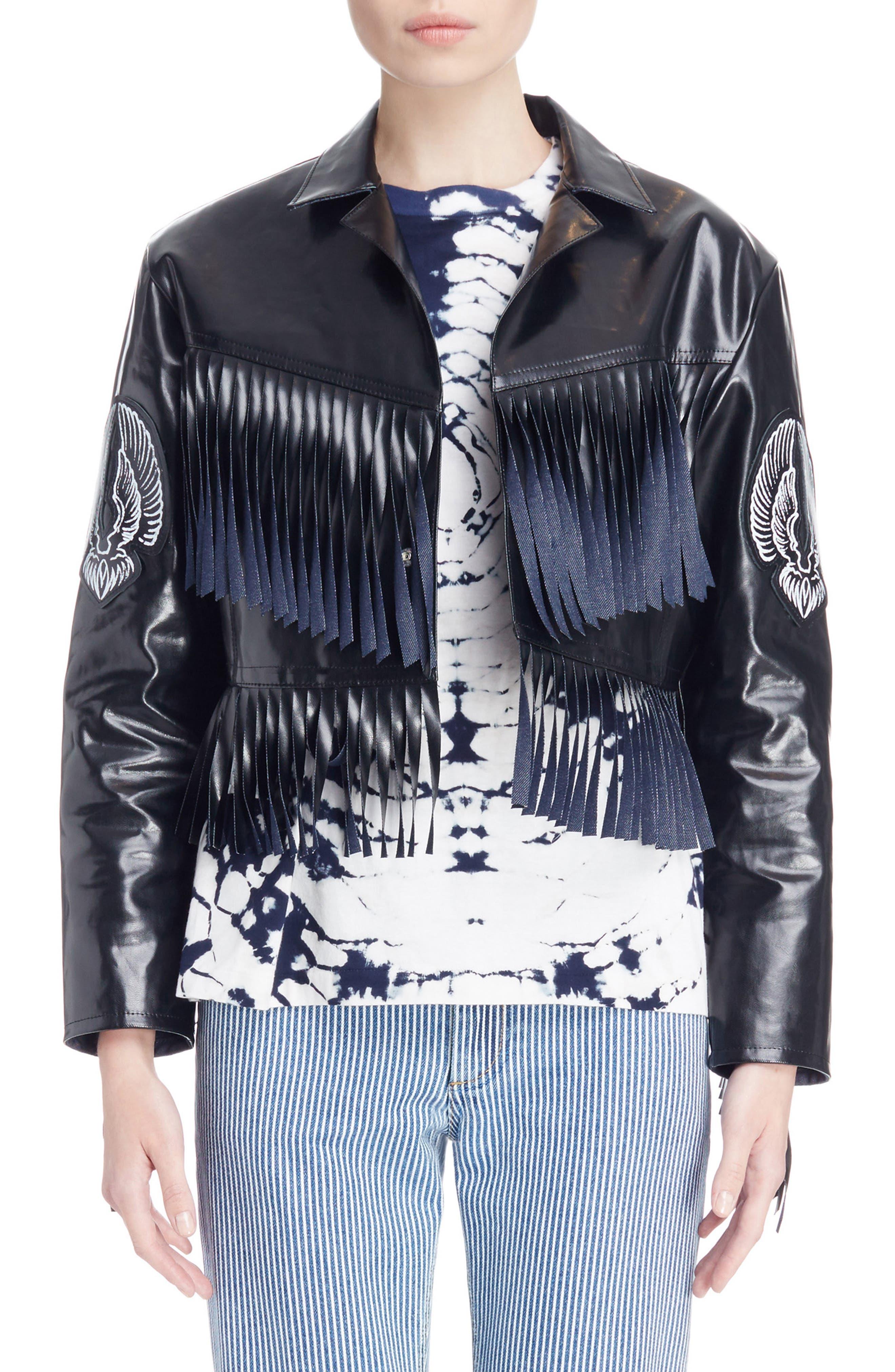 Main Image - Toga Fringed Coated Denim Jacket