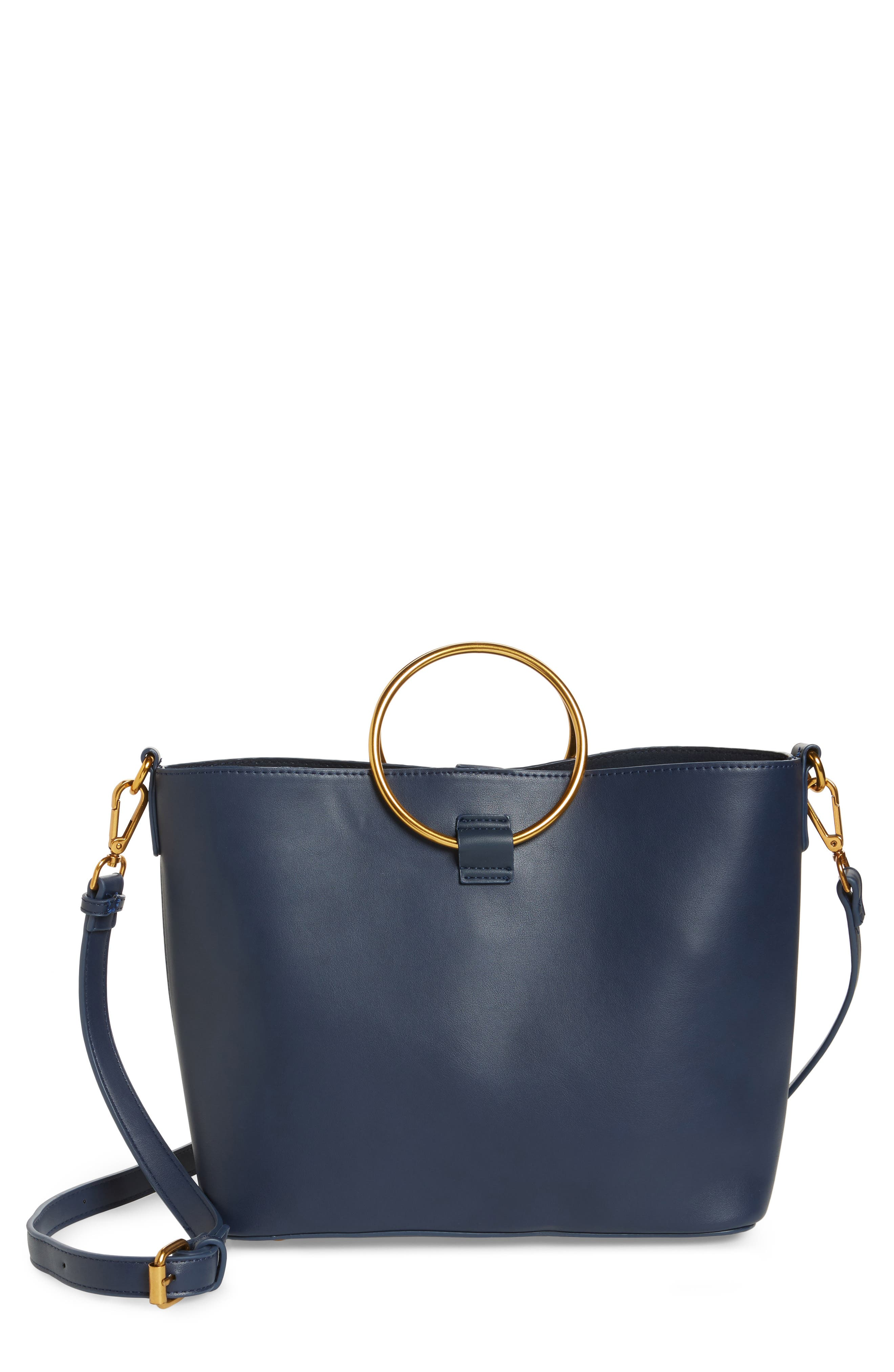Main Image - Street Level Ring Handle Faux Leather Tote & Zip Pouch