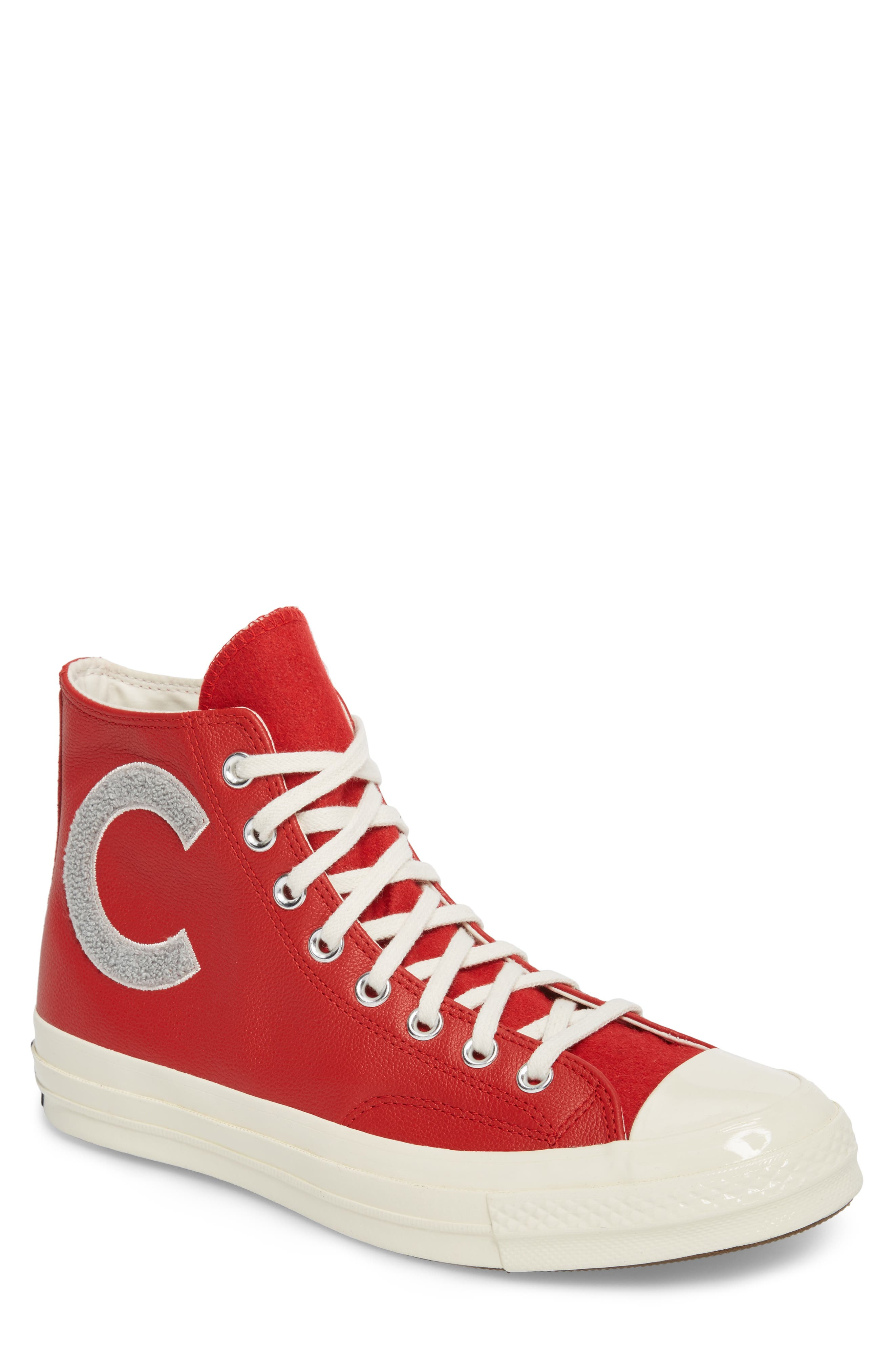 Chuck Taylor<sup>®</sup> All Star<sup>®</sup> Wordmark High Top Sneaker,                         Main,                         color, Enamel Red Leather
