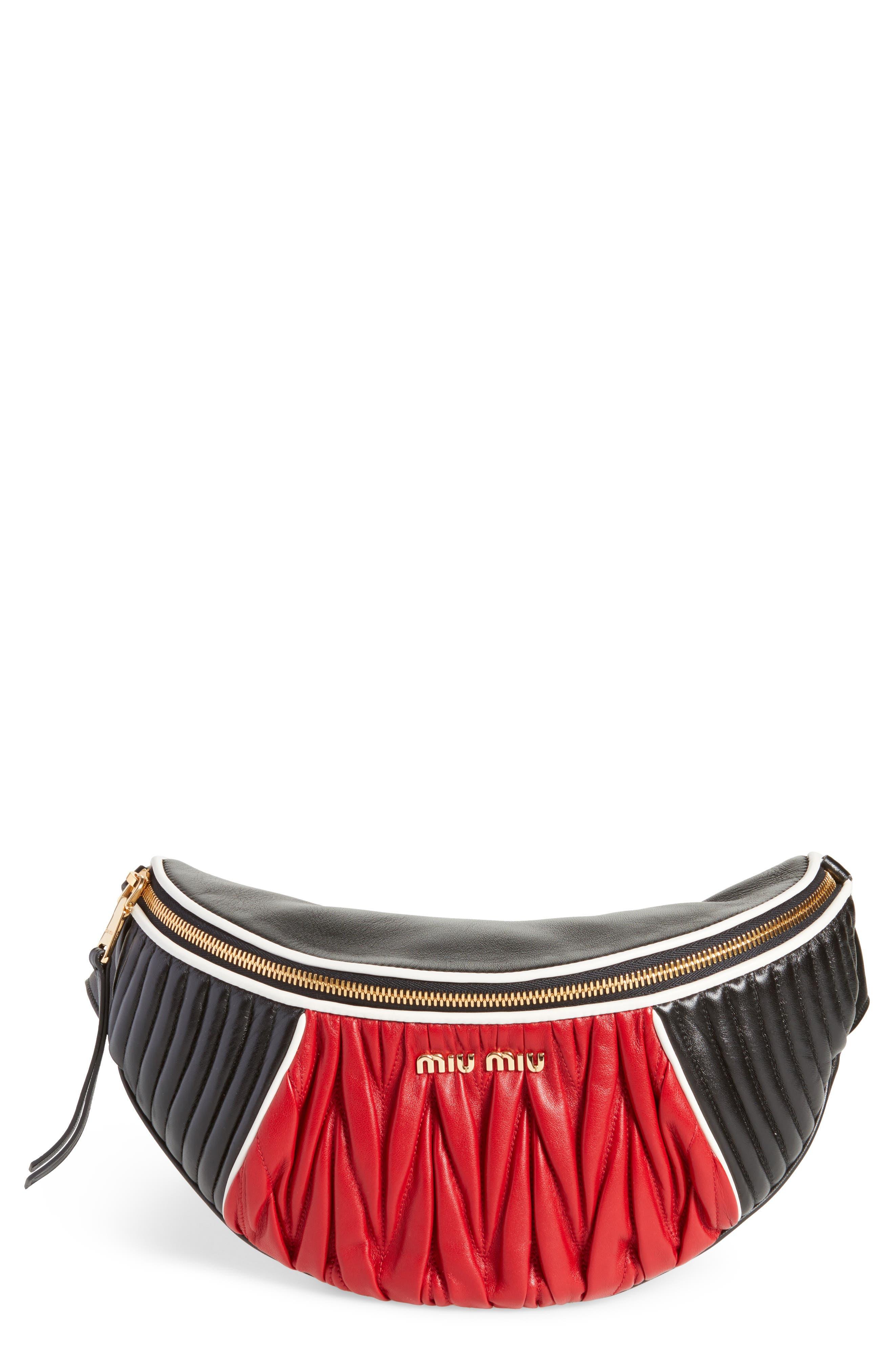 Alternate Image 1 Selected - Miu Miu Rider Matelassé Leather Belt Bag