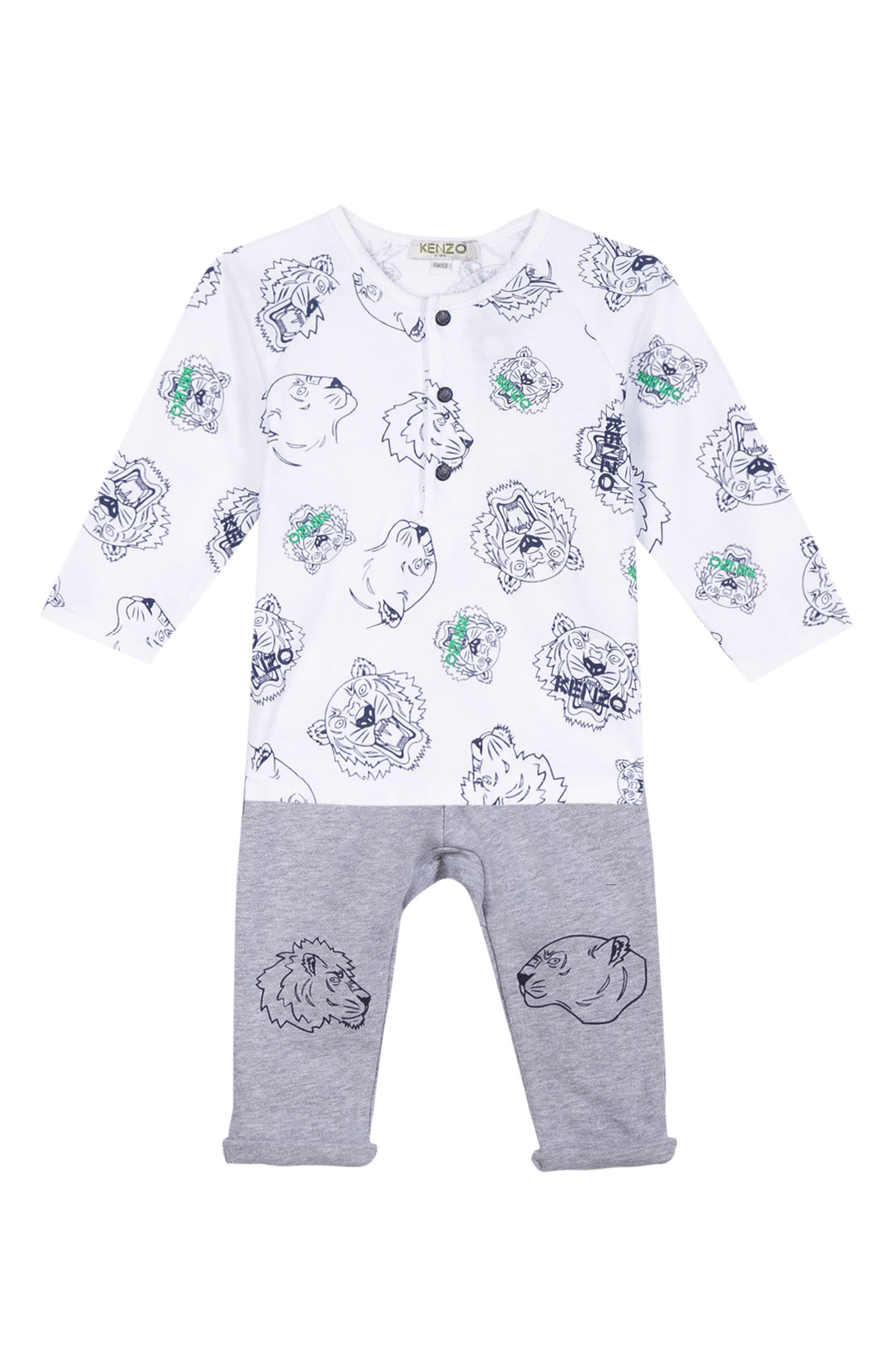 KENZO Tiger Face Print T-Shirt & Pants Set (Baby Boys)