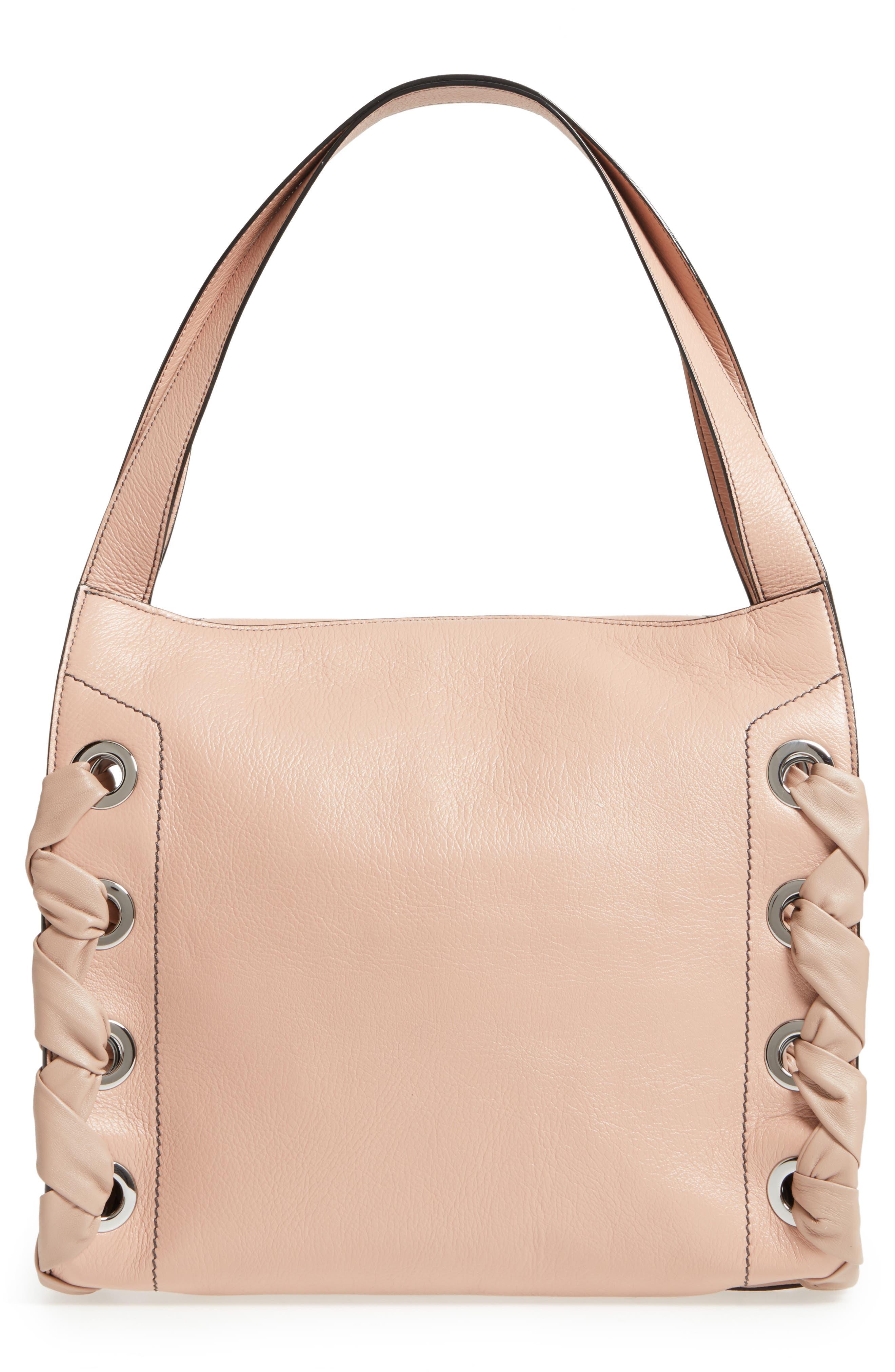 Rebel Leather Shoulder Bag,                             Alternate thumbnail 3, color,                             Ballet Pink