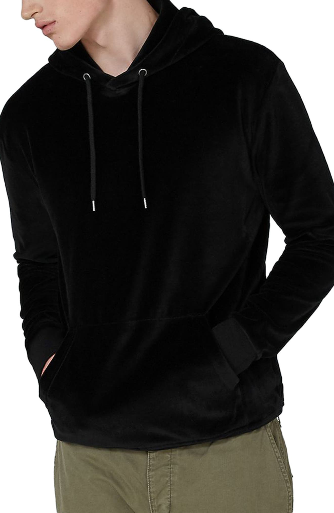 Velour Hoodie,                         Main,                         color, Black