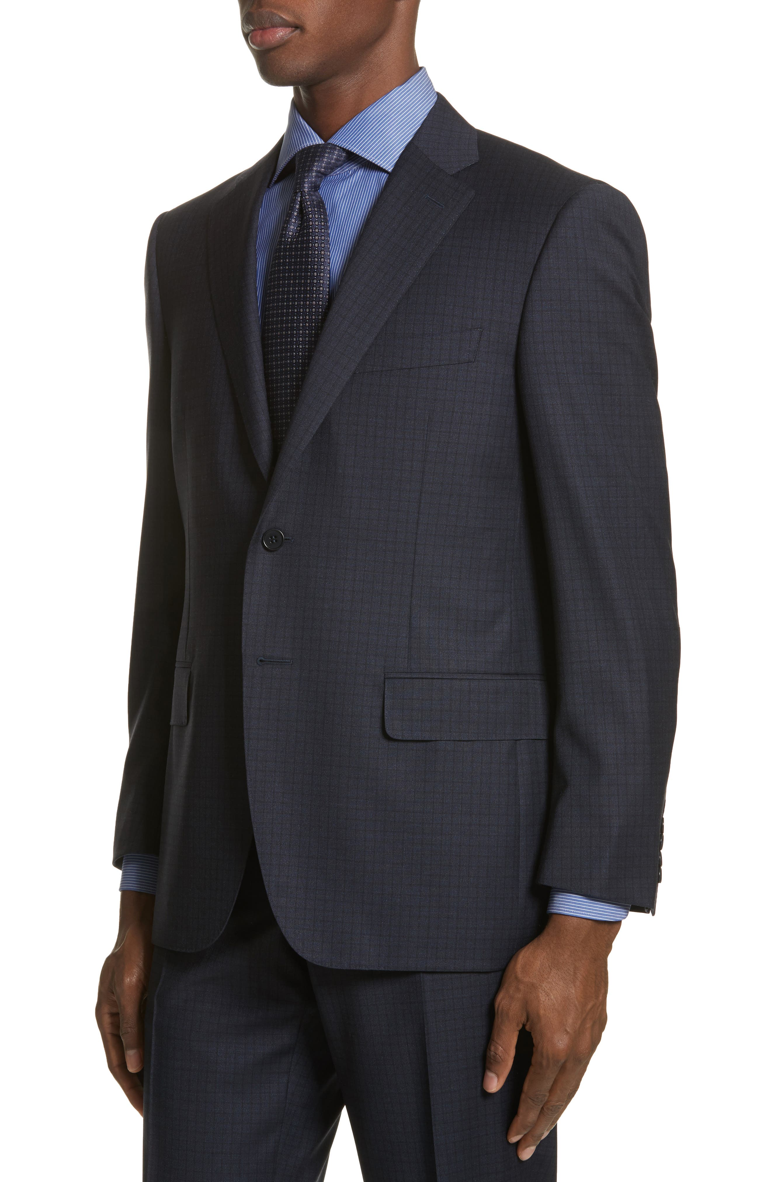 Classic Fit Check Wool Suit,                             Alternate thumbnail 4, color,                             Navy