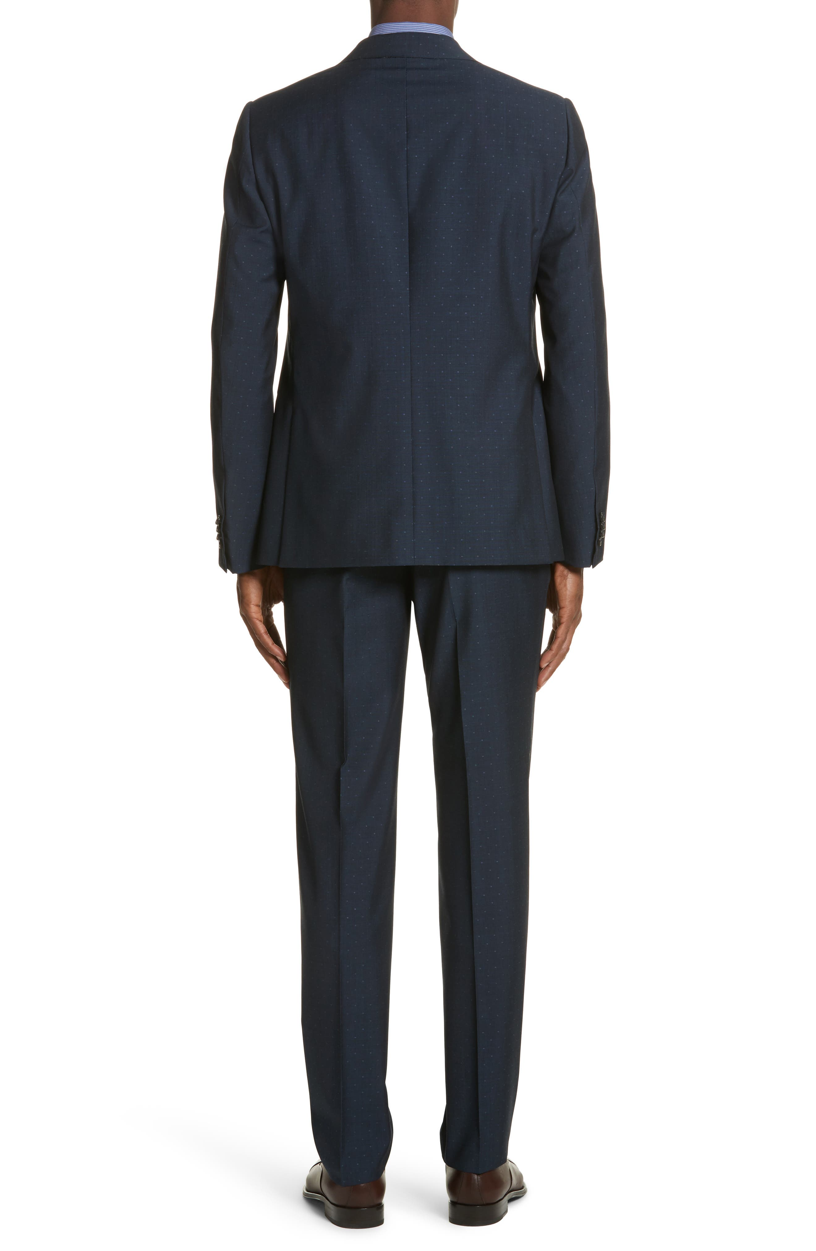 Classic Fit Dot Wool Suit,                             Alternate thumbnail 2, color,                             Navy Check