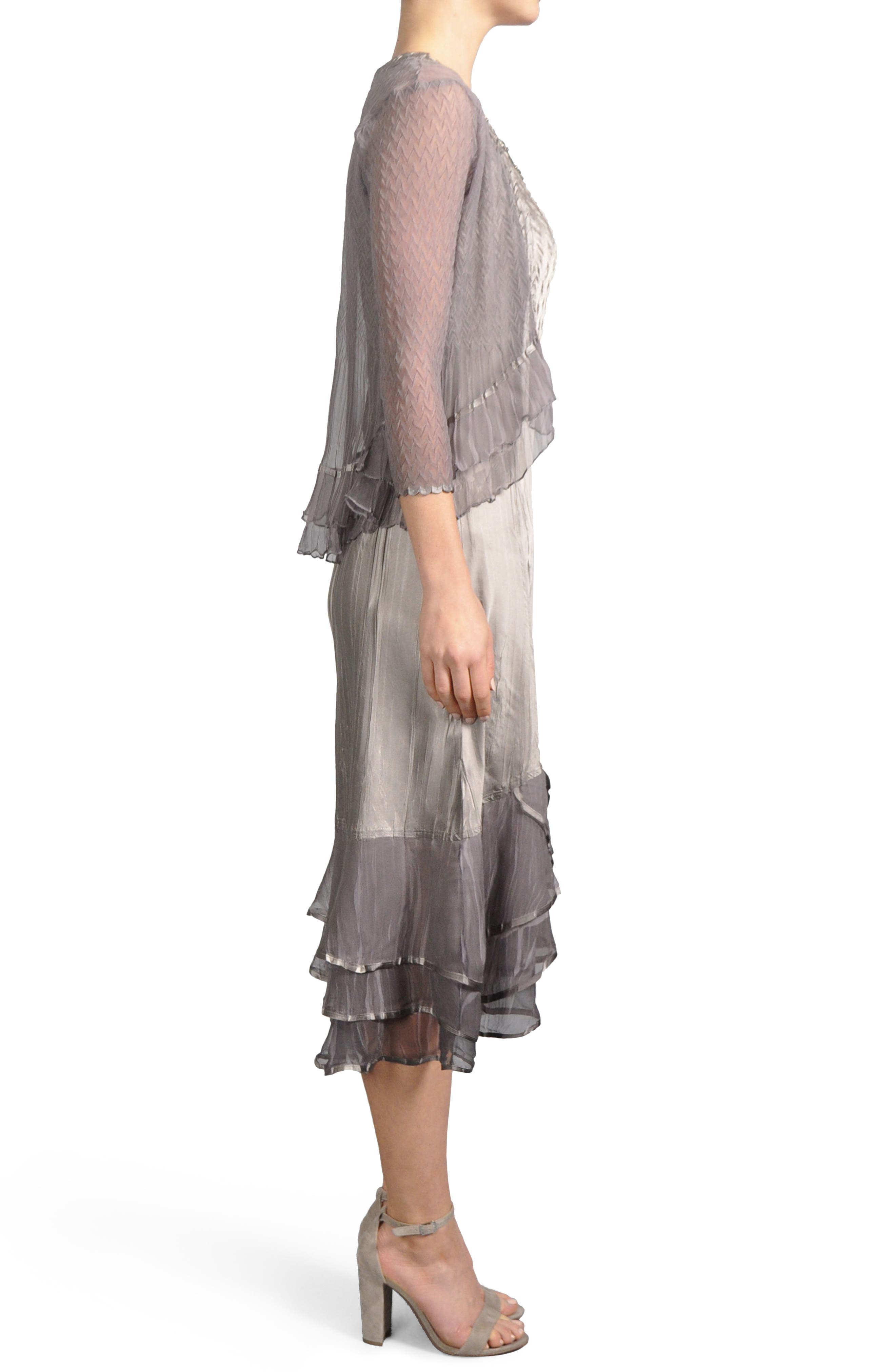 Embellished Tiered Hem Dress With Jacket,                             Alternate thumbnail 5, color,                             Oyster Smoke Ombre