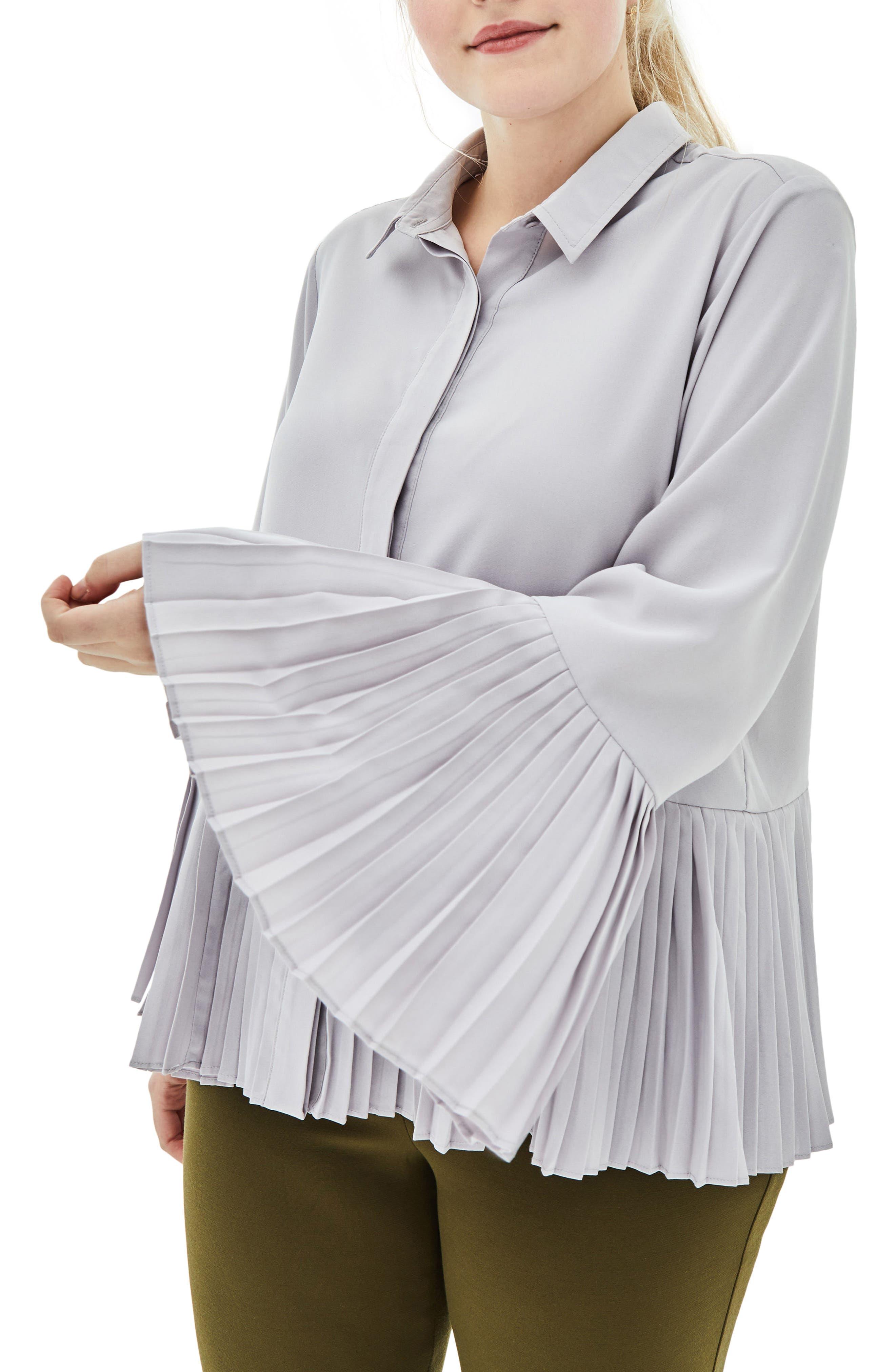 the Luli Pleated Bell Sleeve Shirt,                         Main,                         color, Purple