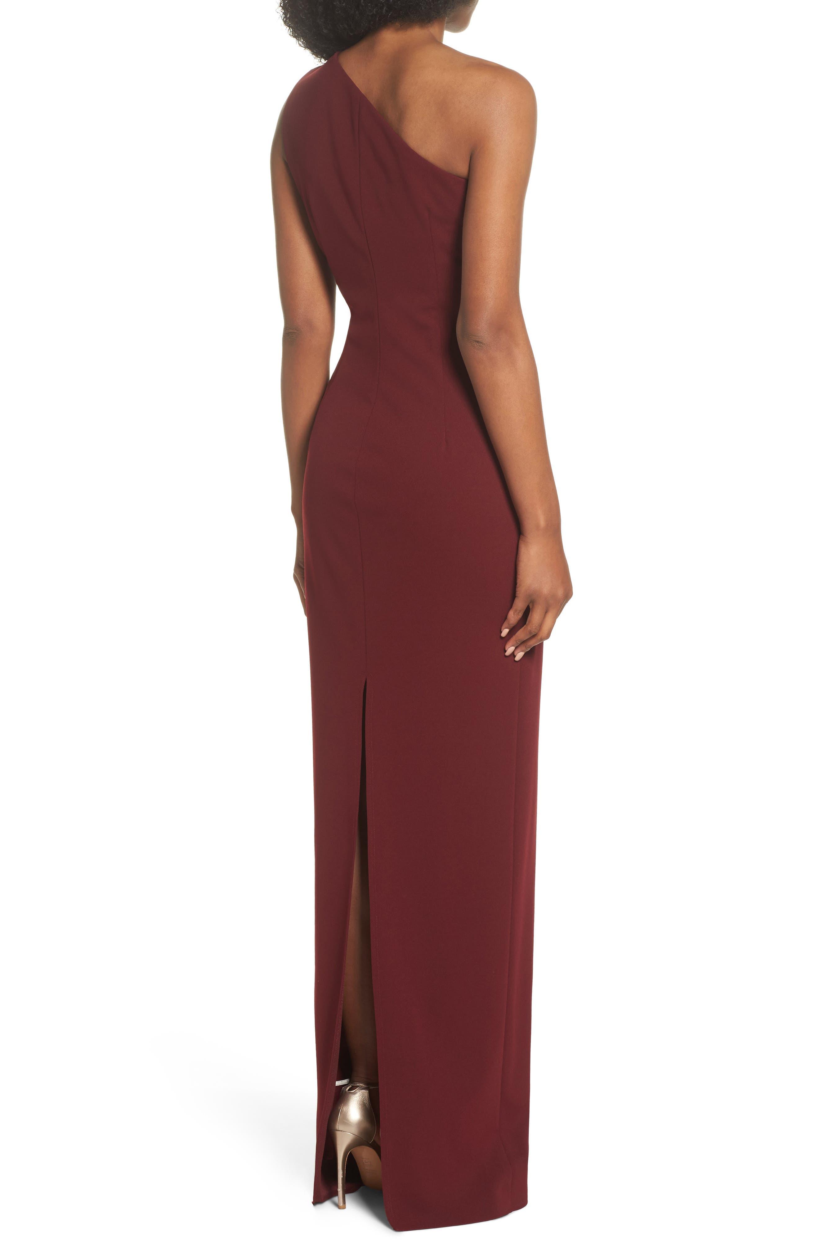 Angelina One-Shoulder Crepe Column Gown,                             Alternate thumbnail 2, color,                             Bordeaux
