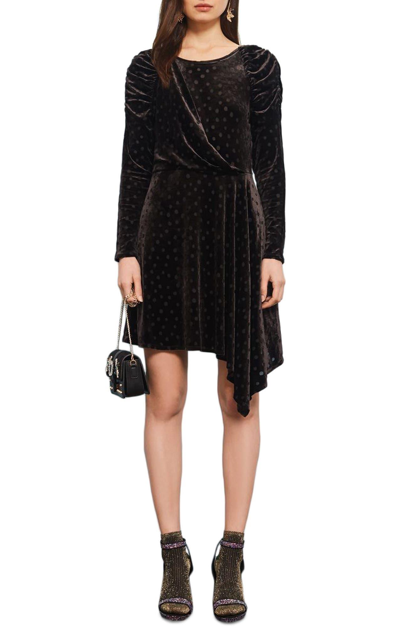Polka Dot Velvet Burnout Dress,                         Main,                         color, Black