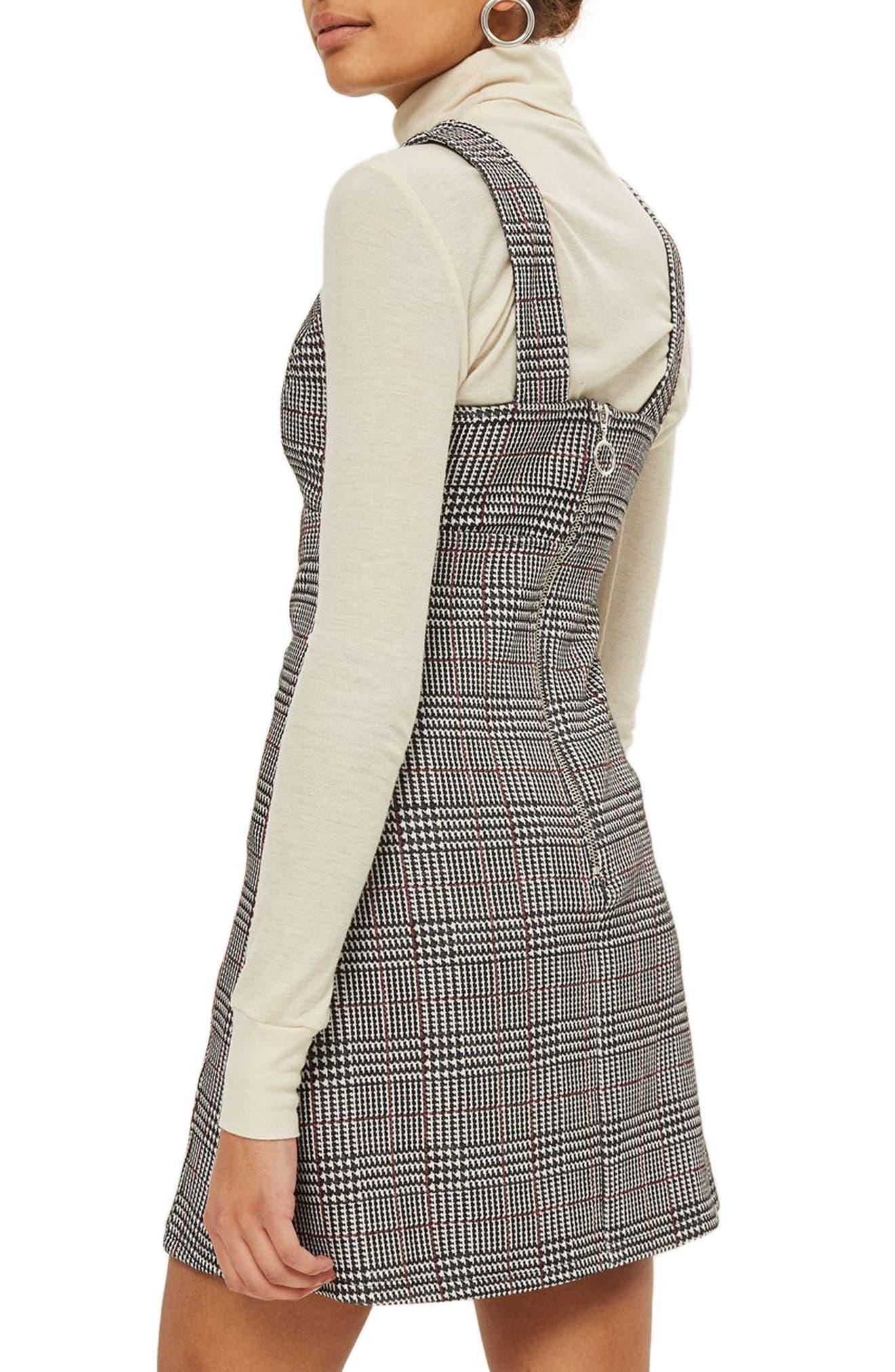 Plaid A-Line Pinafore Dress,                             Alternate thumbnail 3, color,                             Dark Black Multi