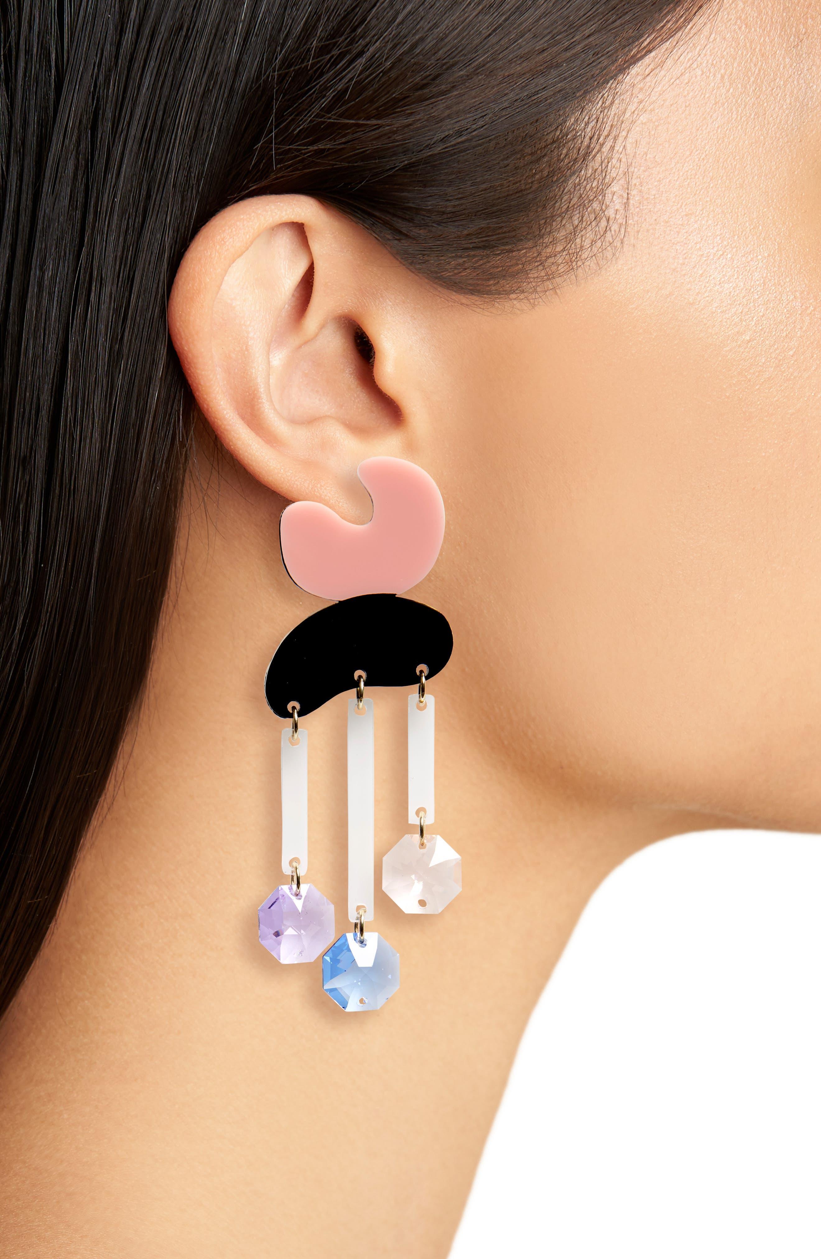 Crystal Rain Statement Earrings,                             Alternate thumbnail 2, color,                             Peach