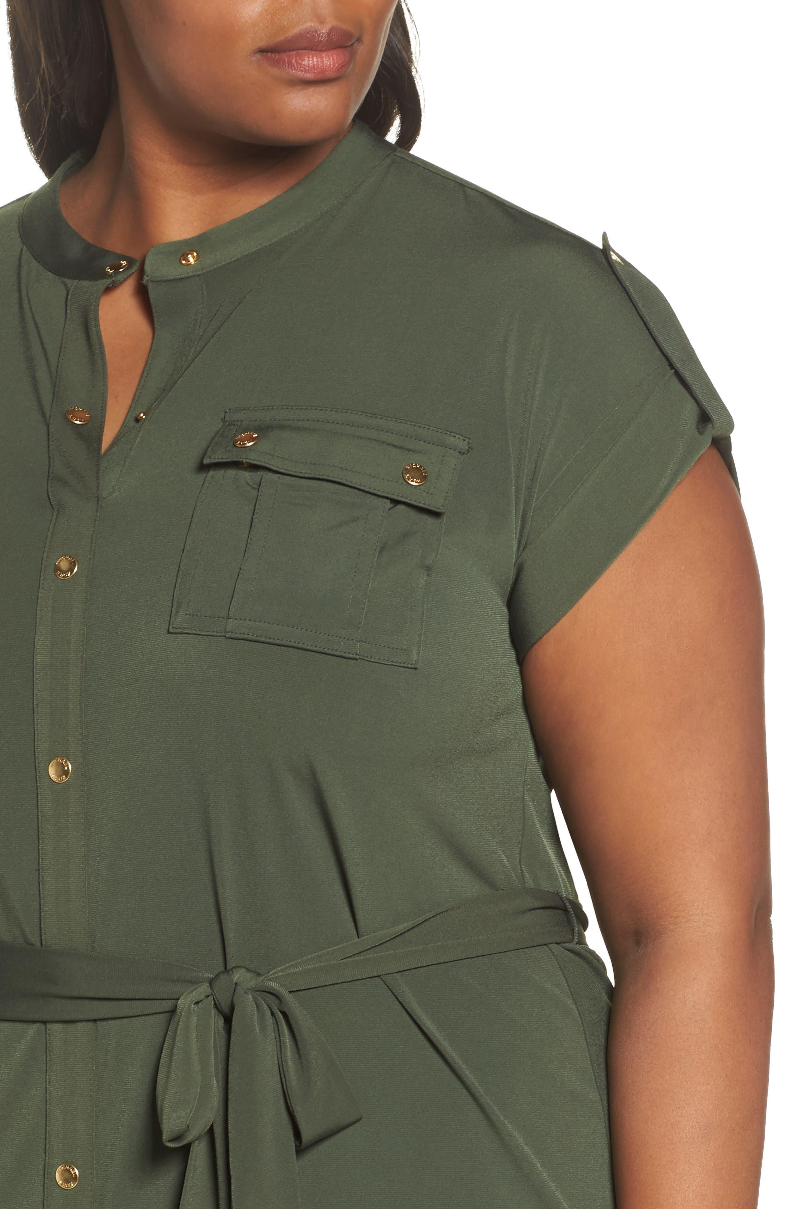 Matte Jersey Maxi Shirtdress,                             Alternate thumbnail 4, color,                             Ivy