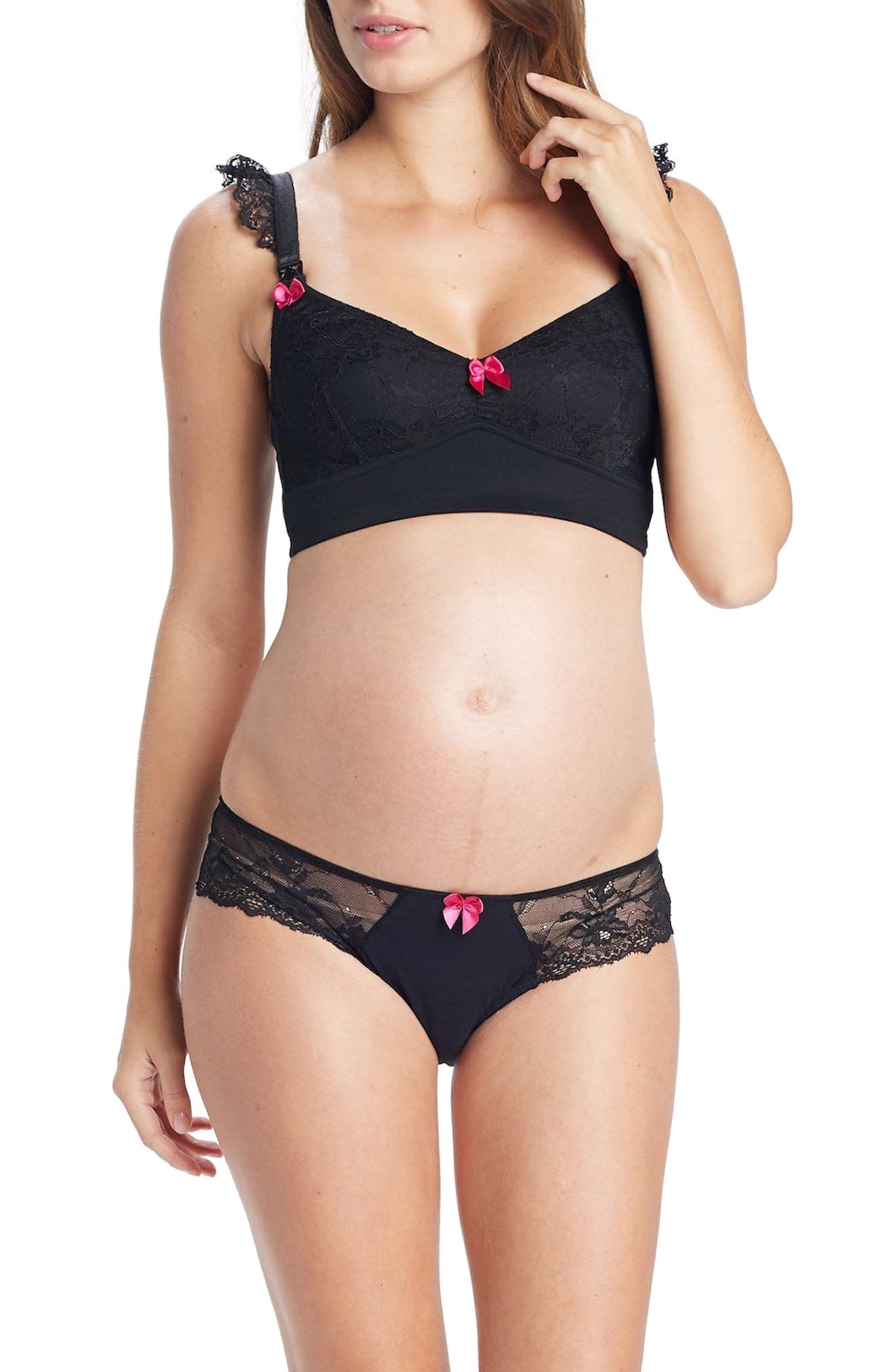 You! Lingerie Nova Lace Maternity Panties,                             Alternate thumbnail 5, color,                             Black