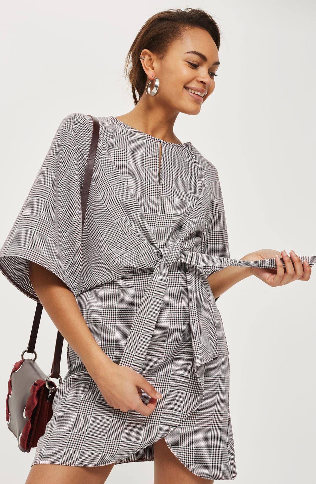 Plaid Knot Front Minidress,                             Alternate thumbnail 2, color,                             Grey Multi
