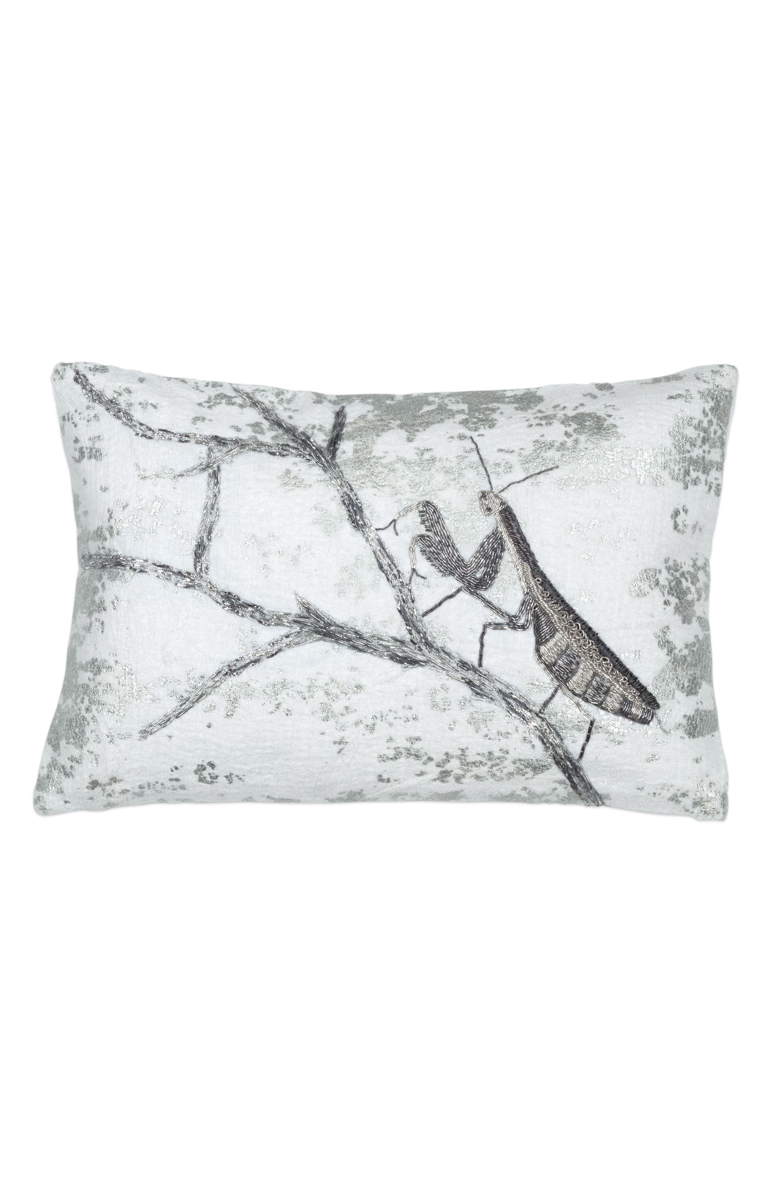 Branch Accent Pillow,                             Main thumbnail 1, color,                             Silver