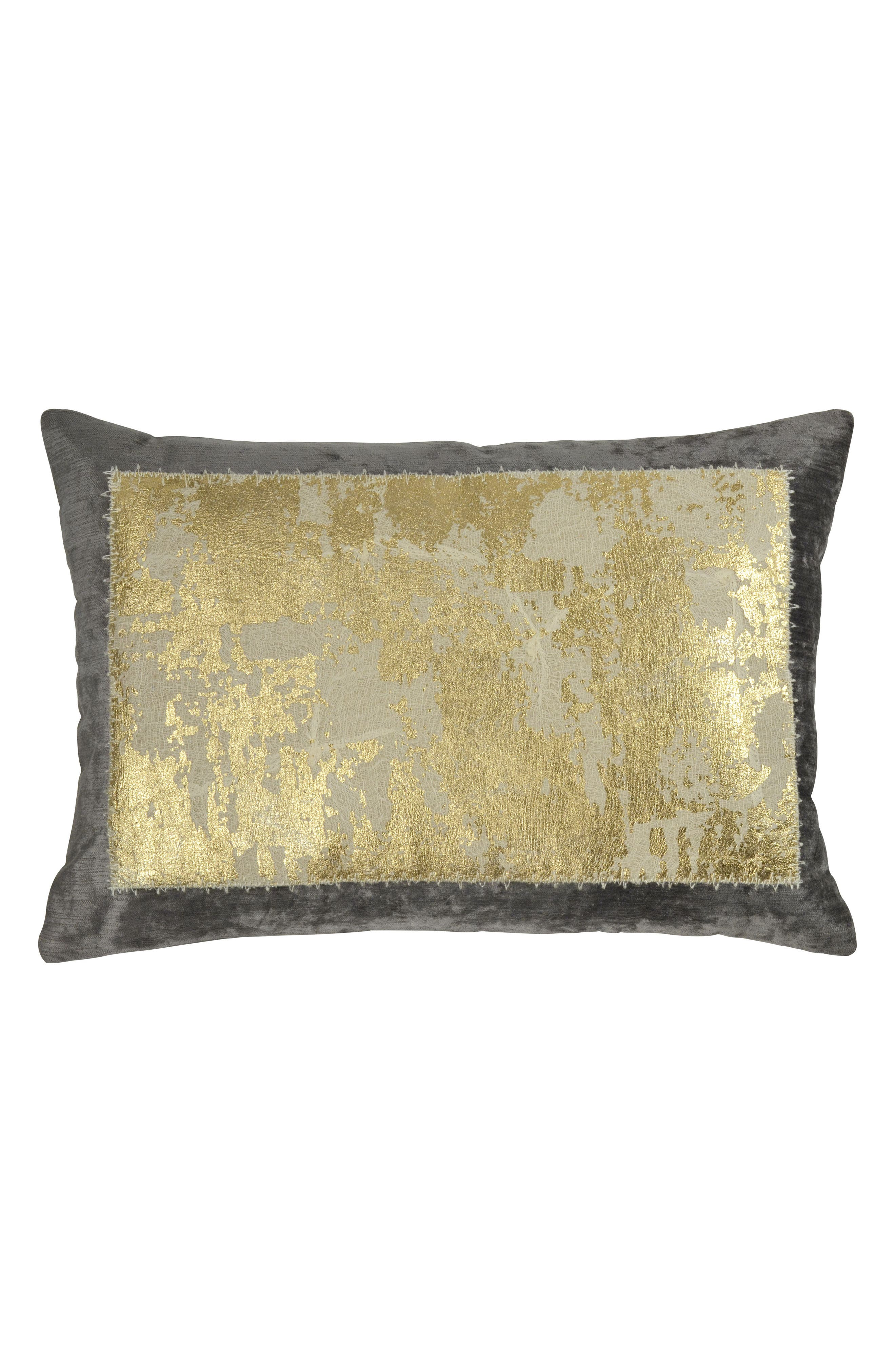 michael aram distressed metallic accent pillow