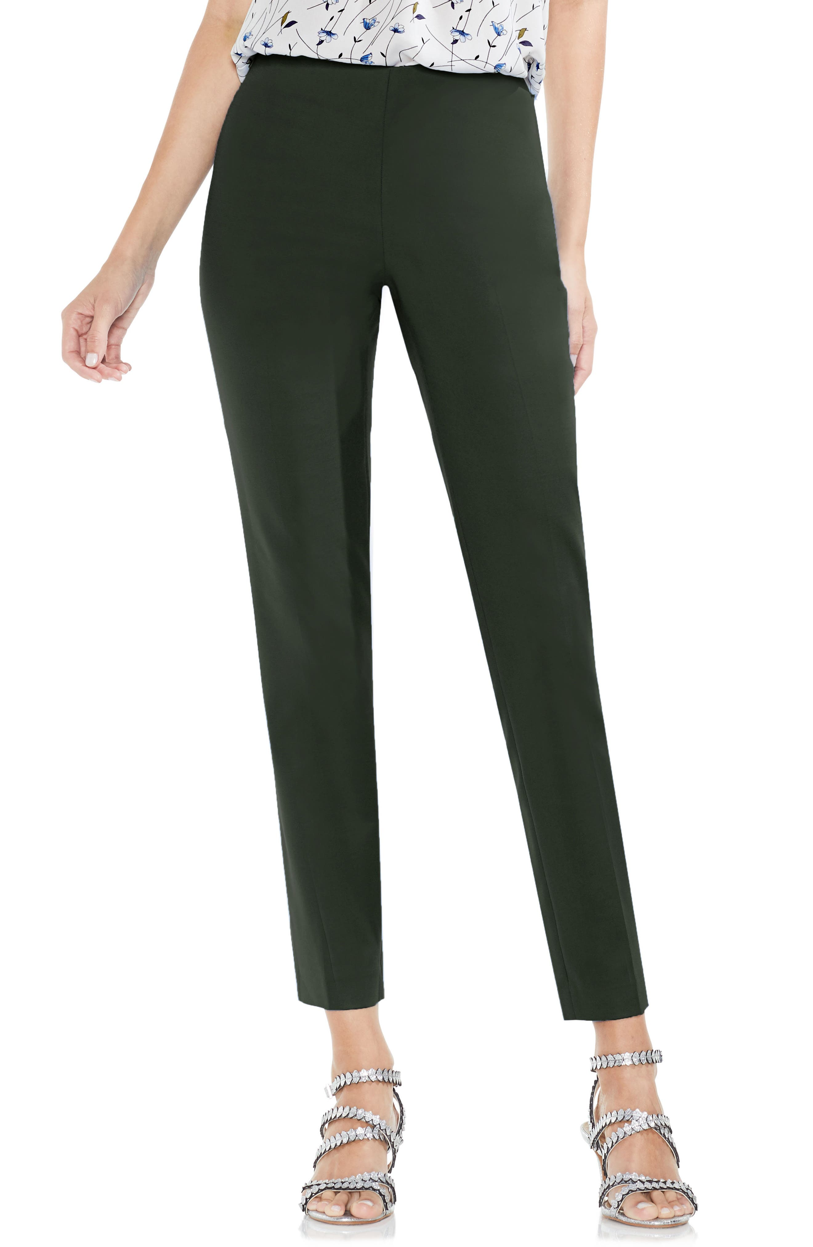 Alternate Image 1 Selected - Vince Camuto Side Zip Double Weave Pants (Regular & Petite)