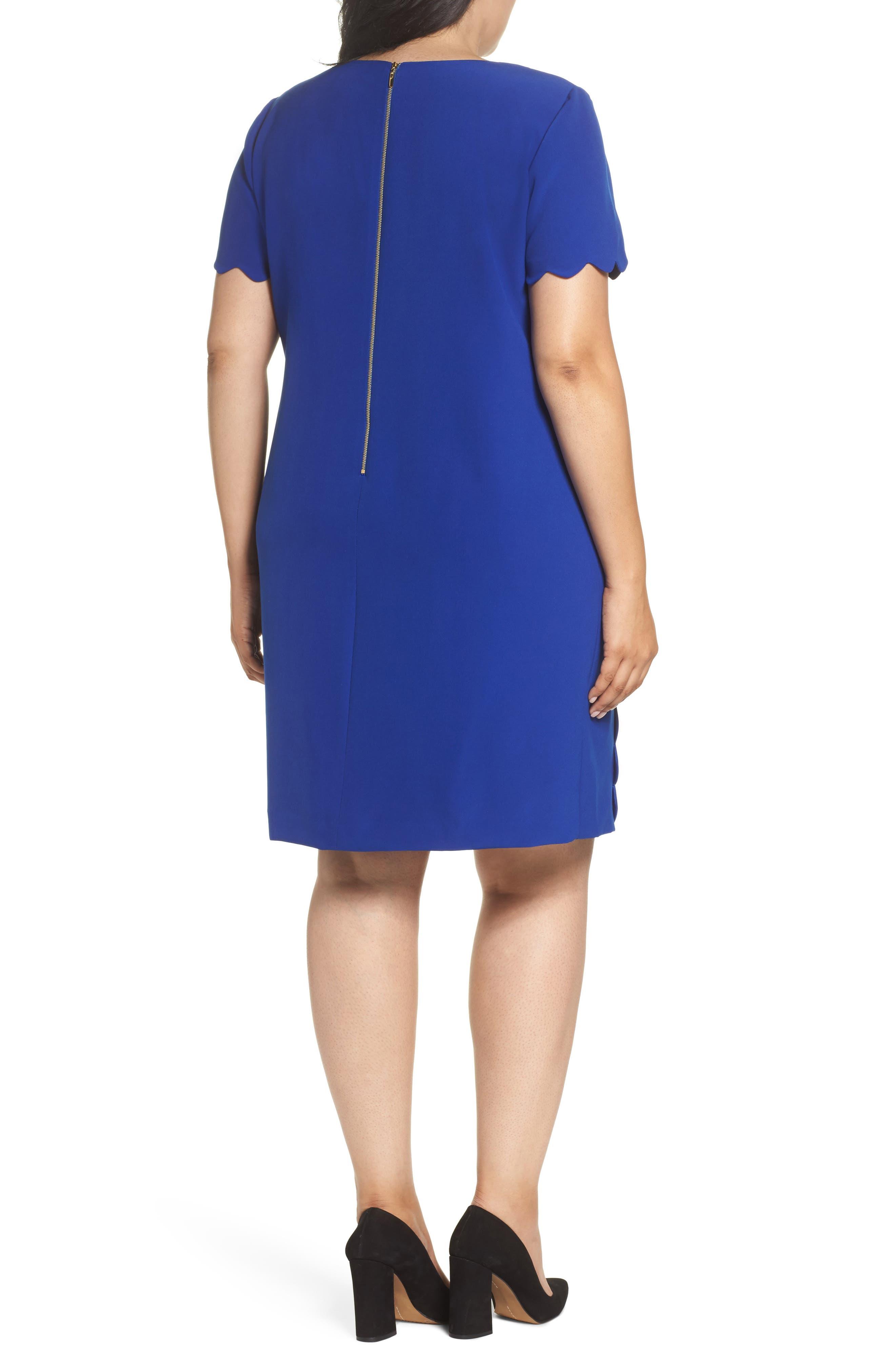 Alternate Image 2  - Tahari Scalloped Trim Shift Dress (Plus Size)