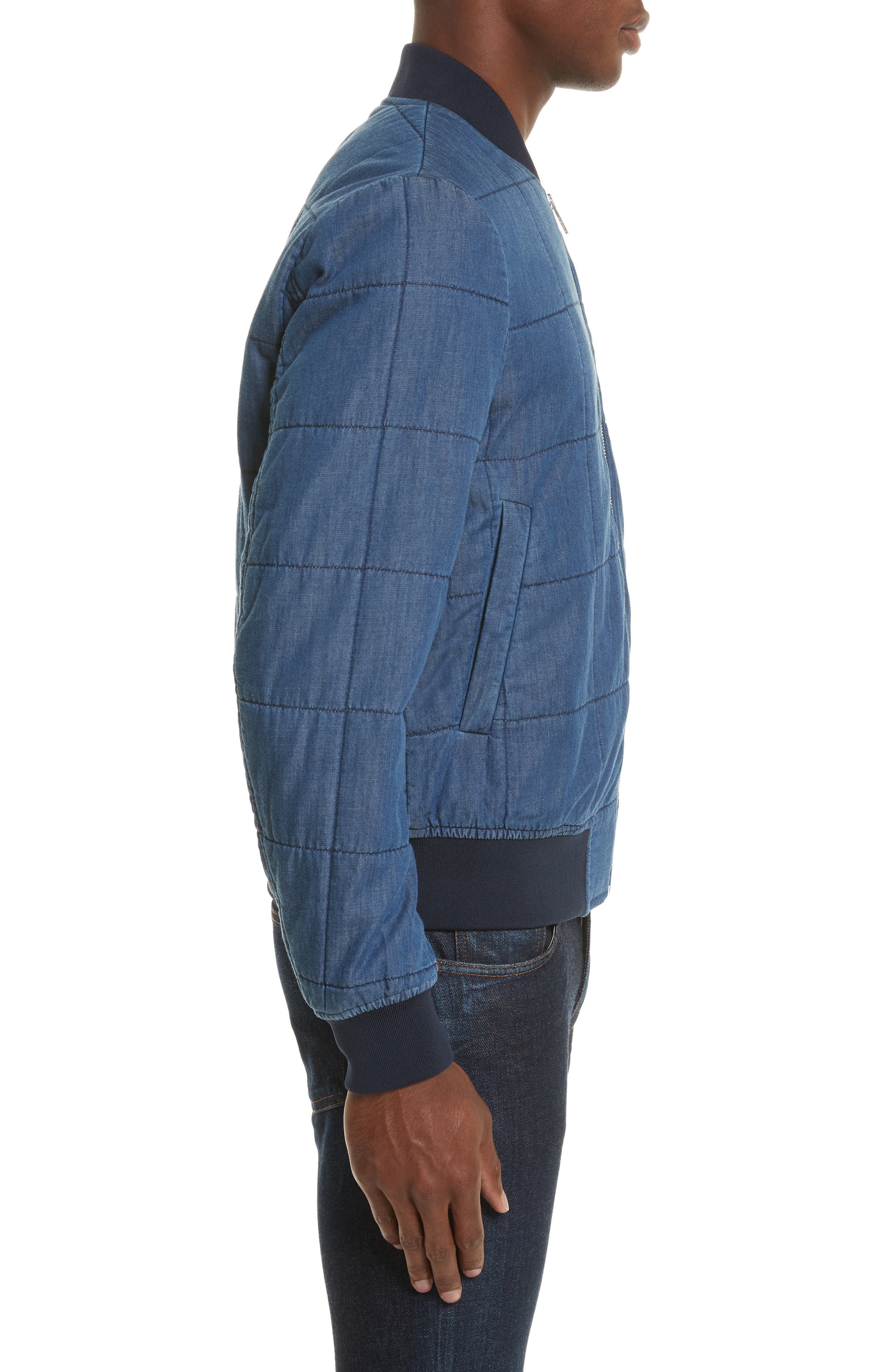 Quilted Bomber Jacket,                             Alternate thumbnail 3, color,                             Medium Blue